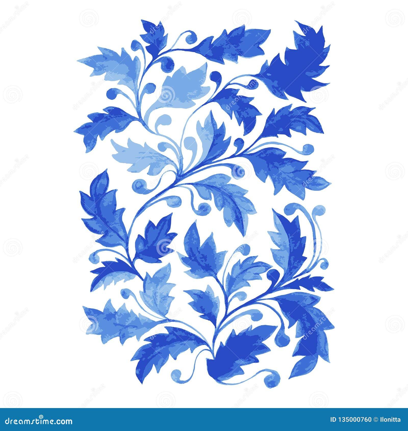 Cartel azul de Azulejo, ilustraciones verticales del vector con las hojas de la acuarela, rizos y follaje