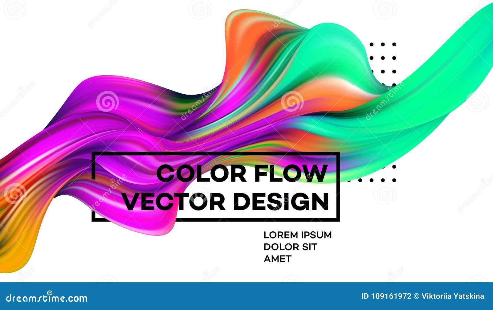 Cartel colorido moderno del flujo Forma líquida de la onda en el fondo blanco del color Diseño del arte para su proyecto de diseñ
