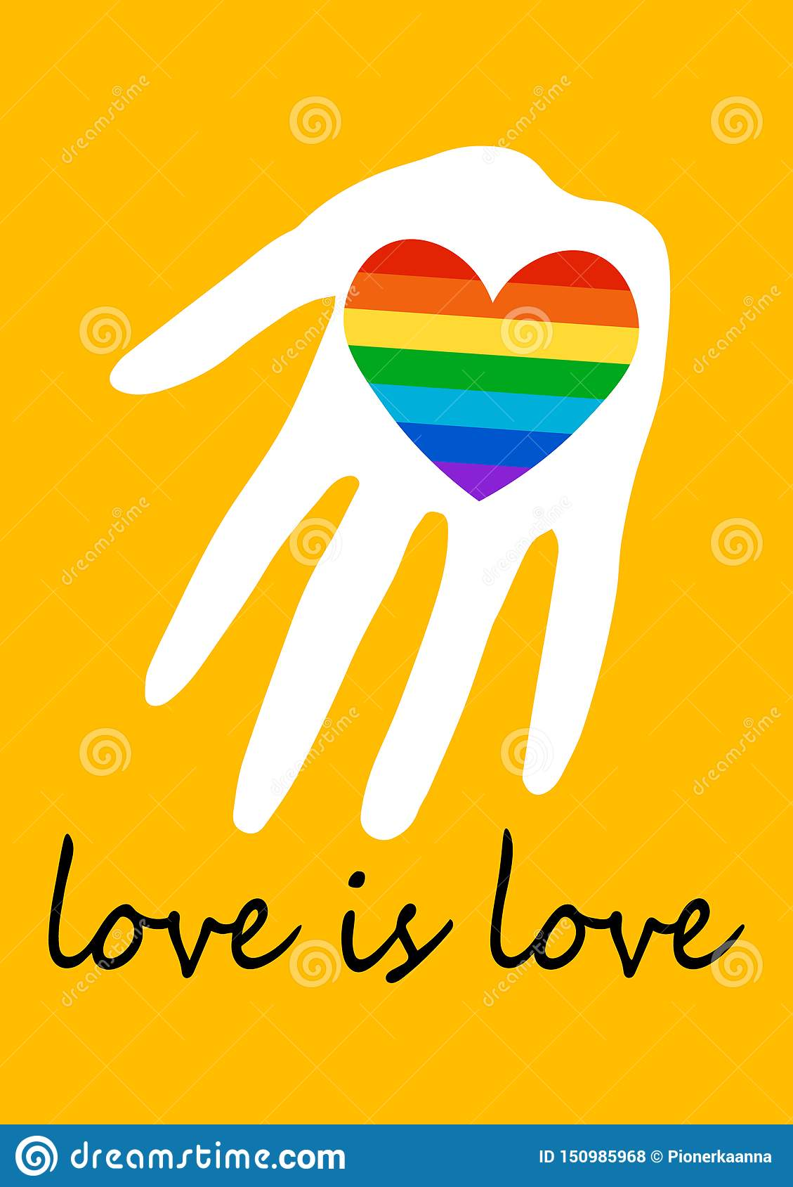 Cartel con el corazón del arco iris a disposición LGBT endereza concepto El amor es amor Bandera del espectro del orgullo, homose