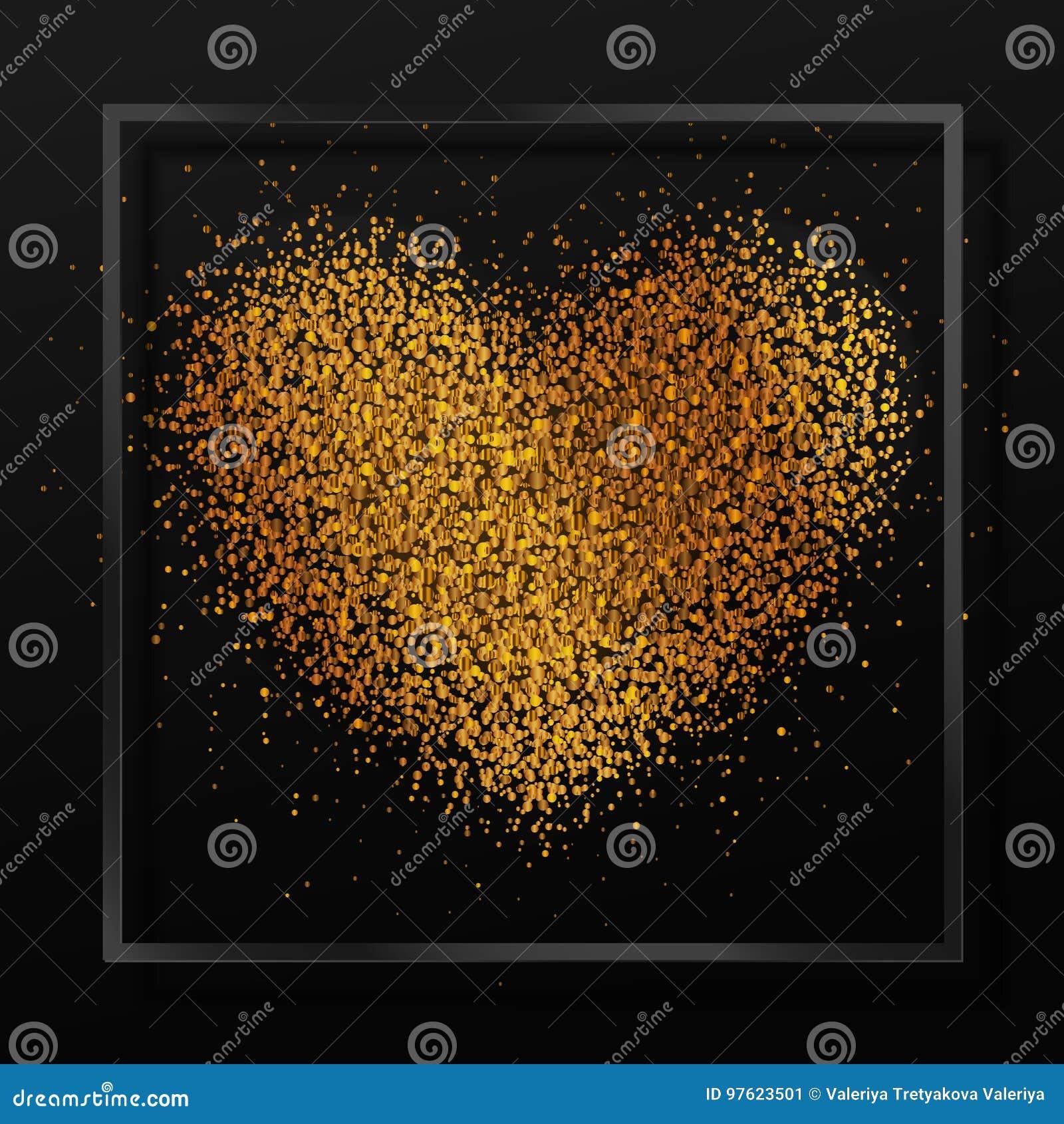 Cartel Con El Corazón Del Polvo De Oro, Confeti, Chispas, Brillo De ...