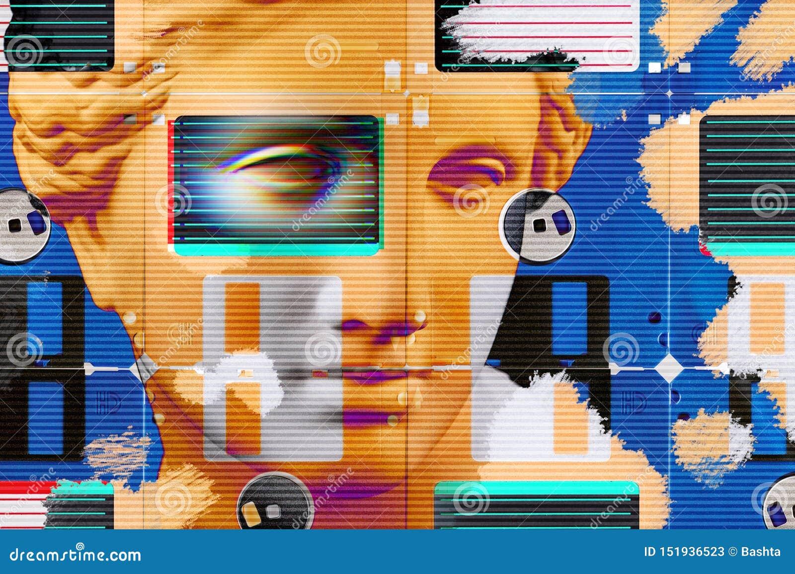 Cartel Conceptual Moderno Del Arte Con La Estatua Antigua De La Cara Y El Disco Blando Collage Del Arte Contemporáneo Stock de ilustración - Ilustración de vendimia, cultura: 151936523