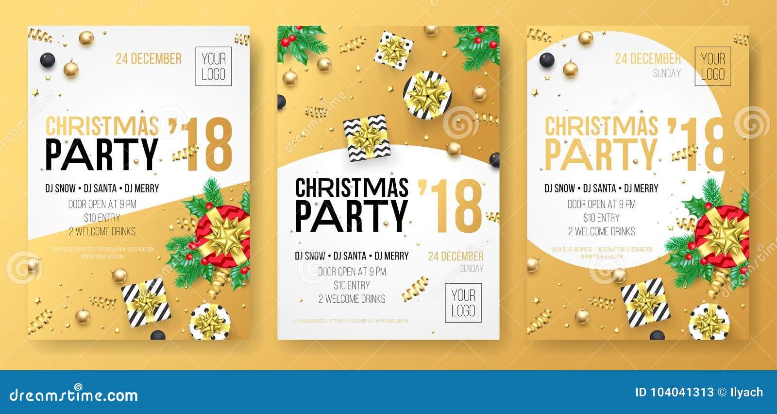Cartel de la celebración del partido de las vacaciones de invierno de la Navidad o tarjeta de la invitación del presente de oro d