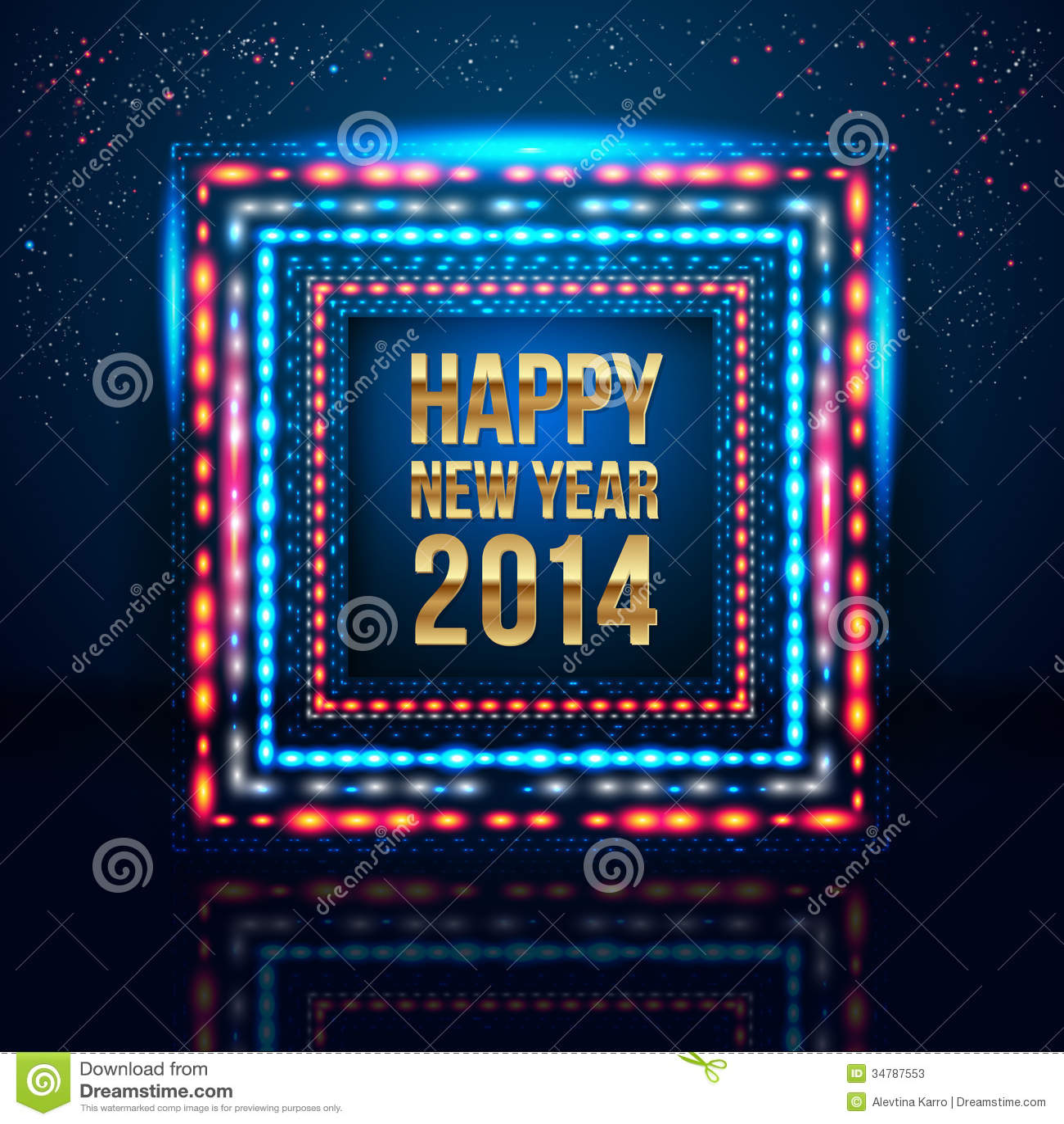 Cartel 2014 De La Feliz Año Nuevo Con El Marco Hecho De Luces. Stock ...