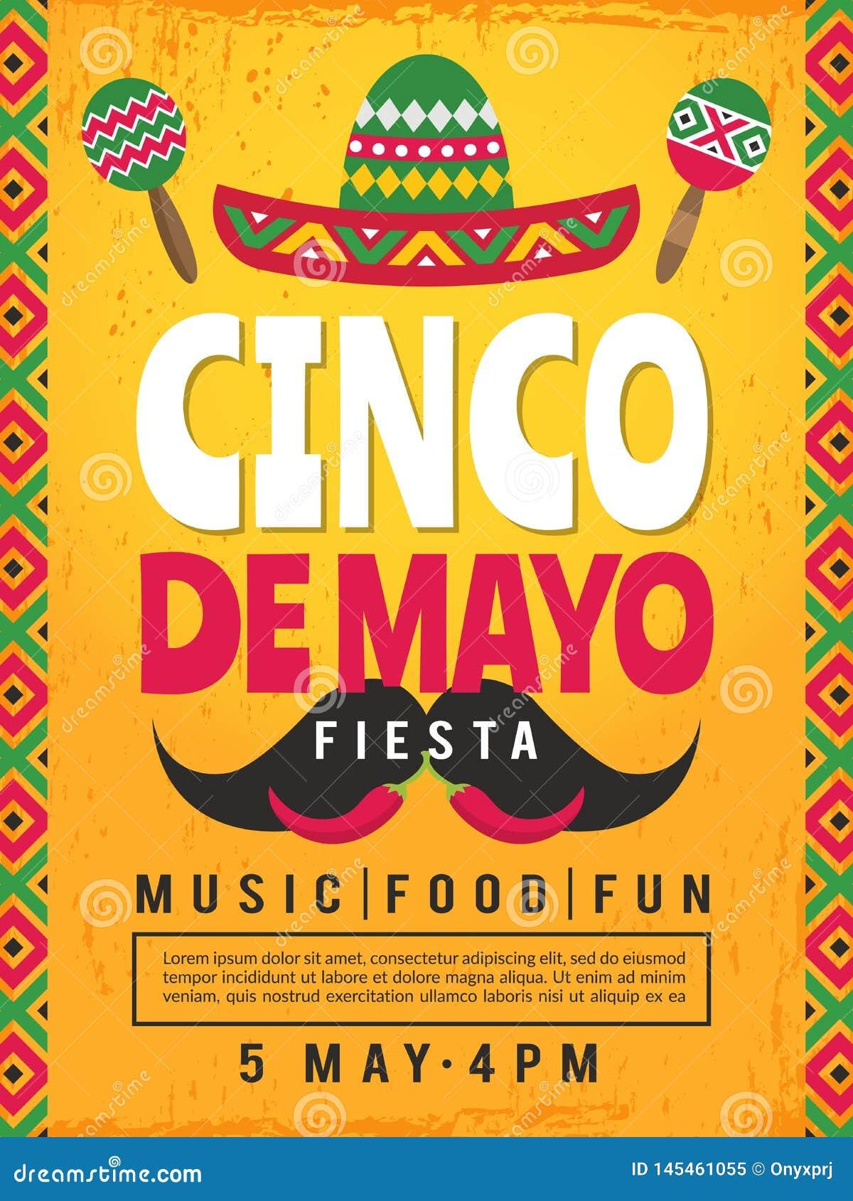 Cartel De La Fiesta Mexicana Plantilla Del Diseño De La