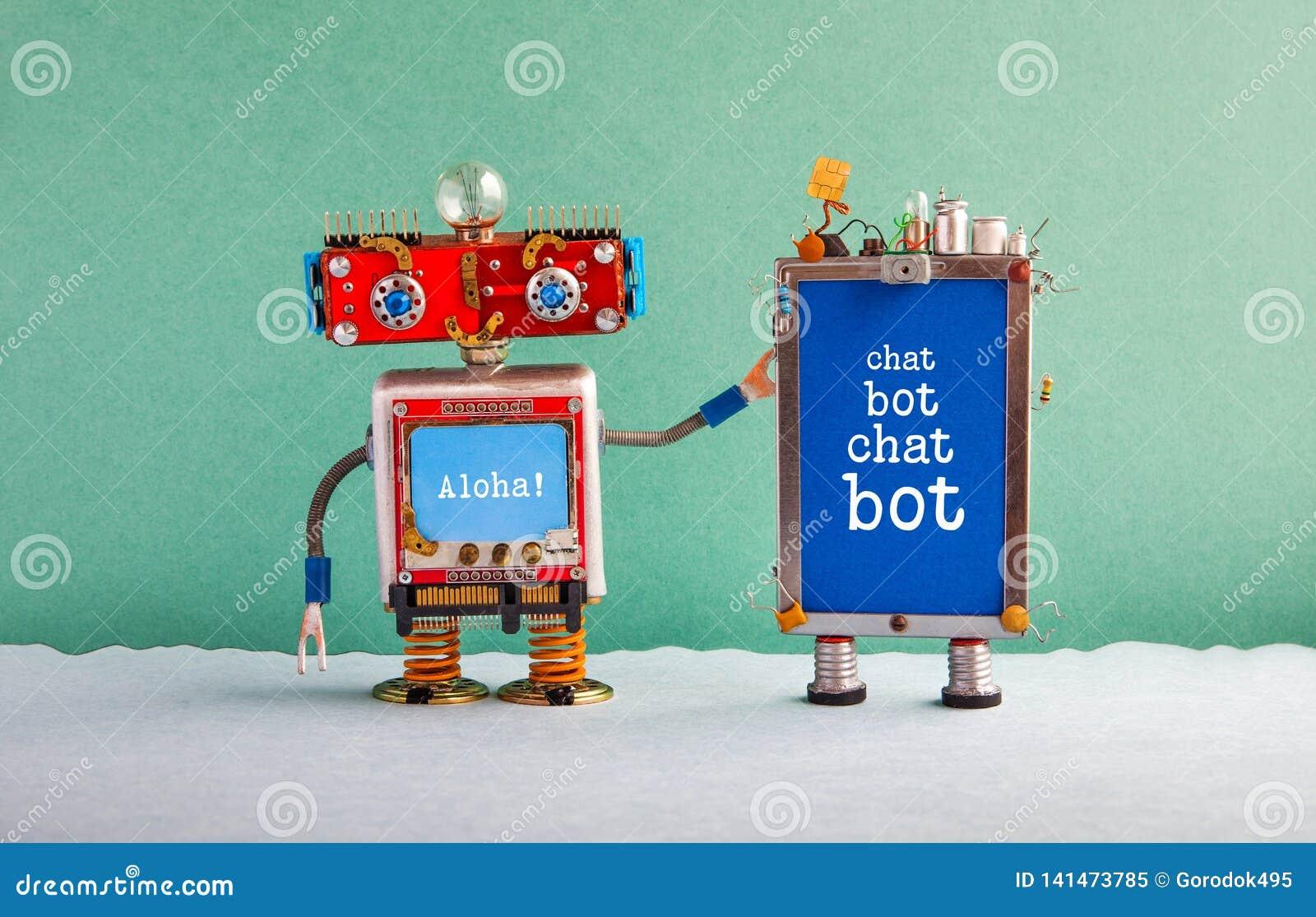 Cartel de la inteligencia artificial de Chatbot Ayudante del robot del diseño creativo y artilugio rojos del teléfono móvil con B
