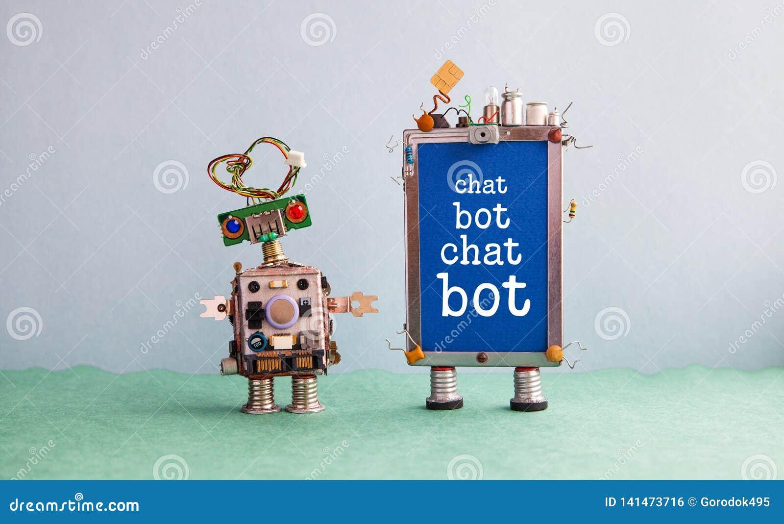 Cartel de la inteligencia artificial de Chatbot Robot del diseño y artilugio creativos del smartphone con Bot de la charla del me