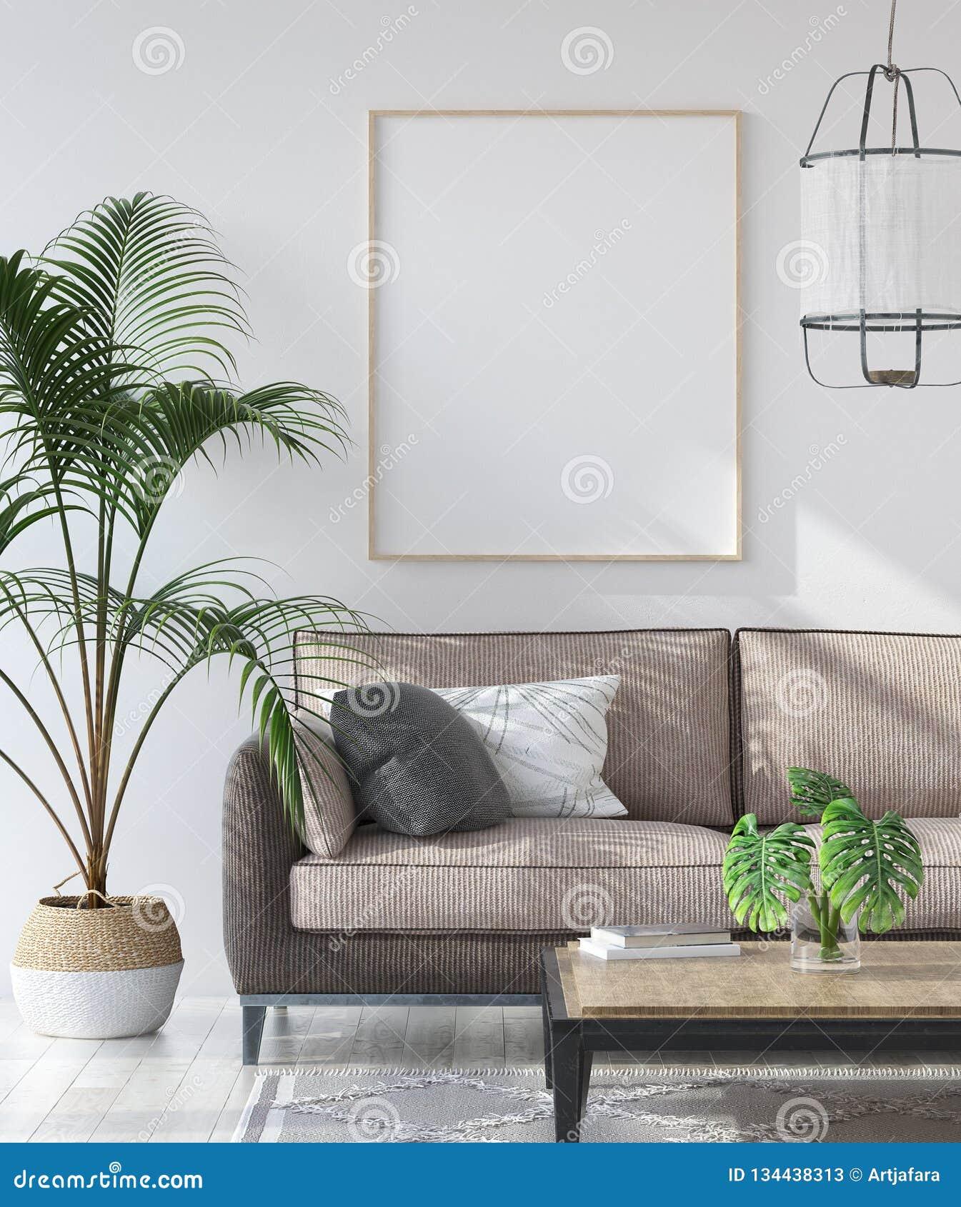Cartel de la maqueta en el interior de la sala de estar del inconformista, estilo escandinavo