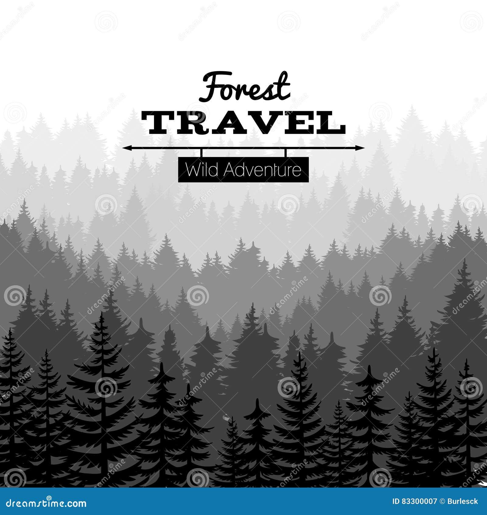 Cartel de la naturaleza del bosquejo de la madera de construcción con las montañas Fondo de la silueta del bosque del árbol de pi