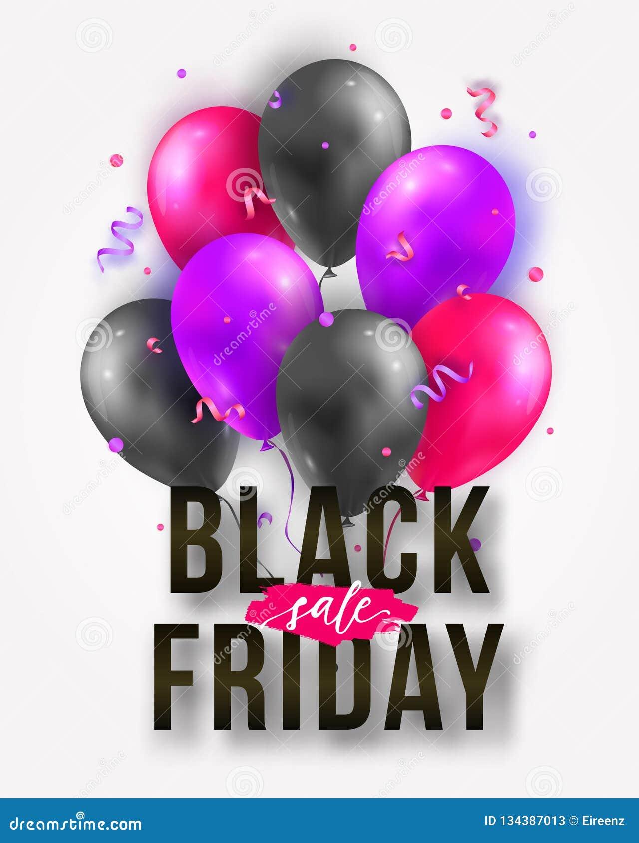 Cartel de la venta de Black Friday del vector con los globos, las cintas y el confeti brillantes Plantilla para hacer publicidad