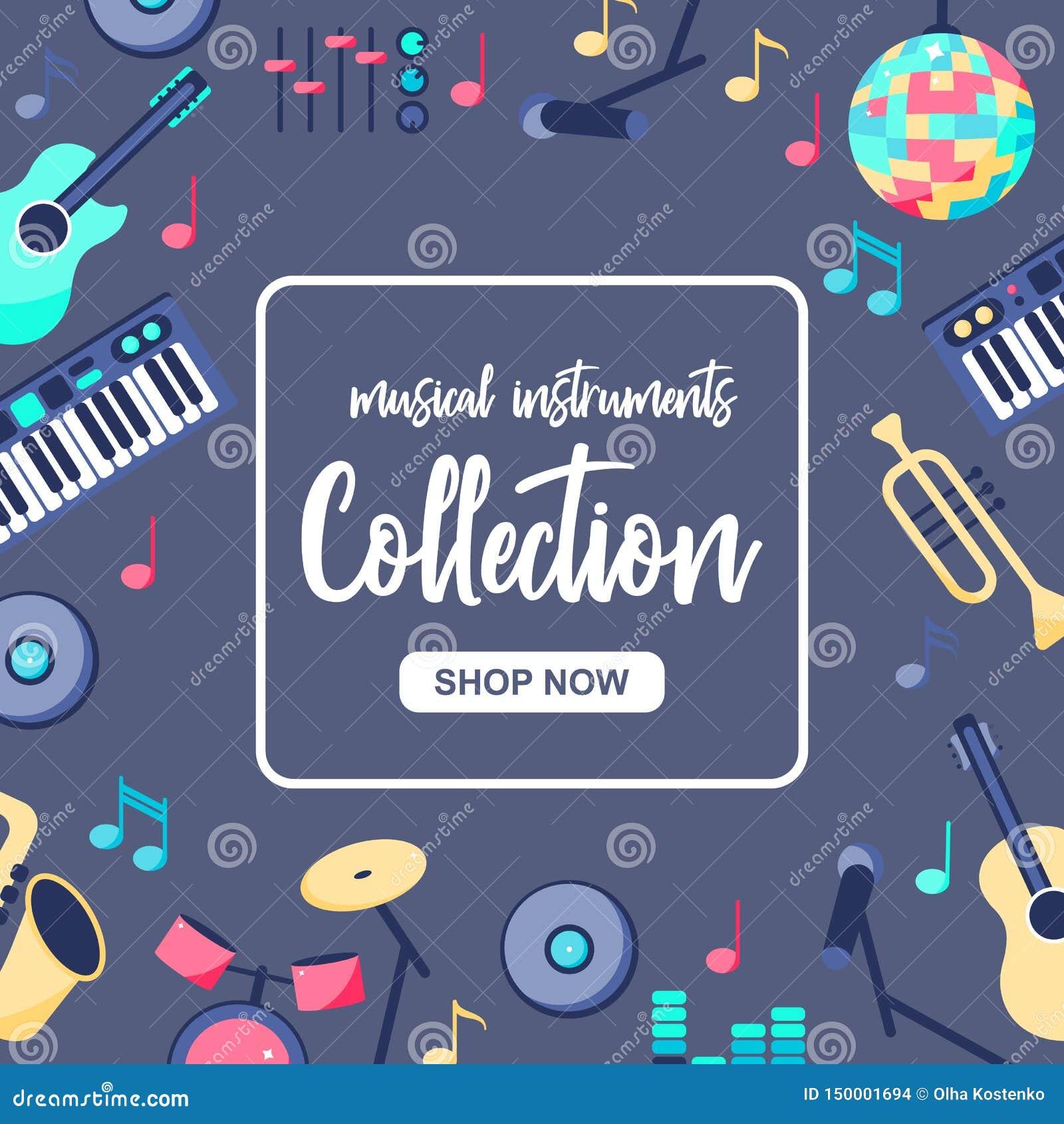 Cartel de la venta especial con los instrumentos musicales en fondo azul gris Musica; colección de los intstuments con