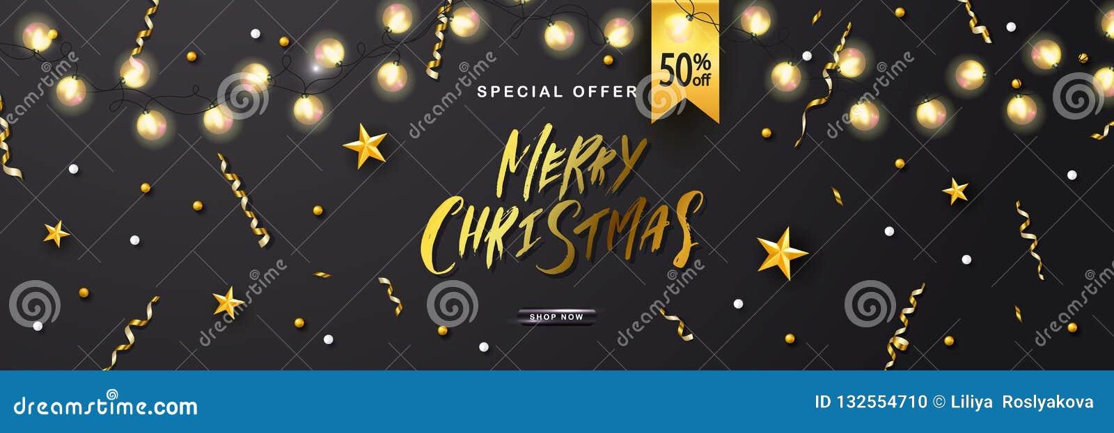 Cartel de la venta de la Feliz Navidad con la serpentina brillante del garlandsand luminoso Ilustración del vector Diseño para la