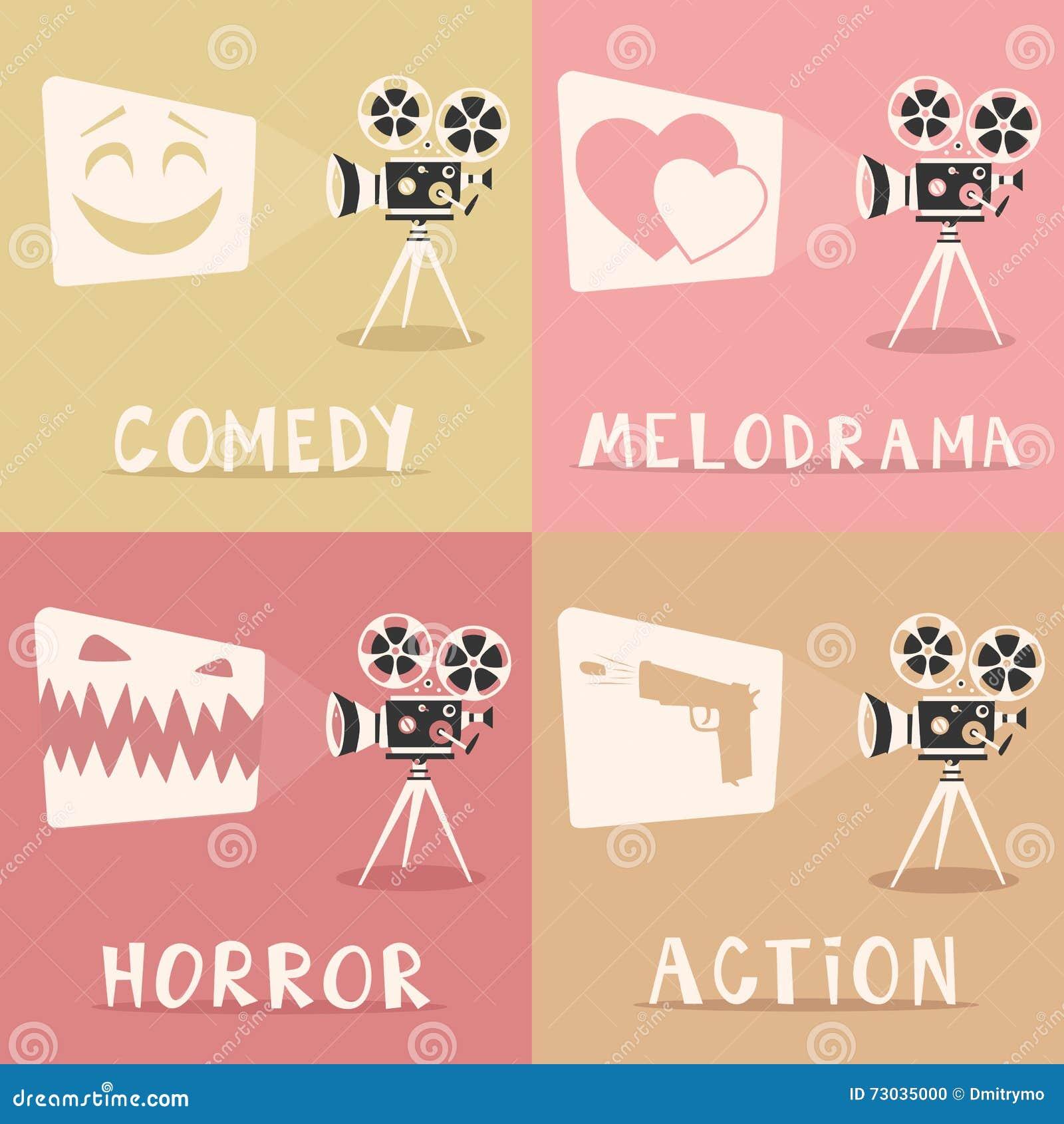 Cartel de los géneros de la película Ilustración del vector de la historieta Proyector y palomitas de película