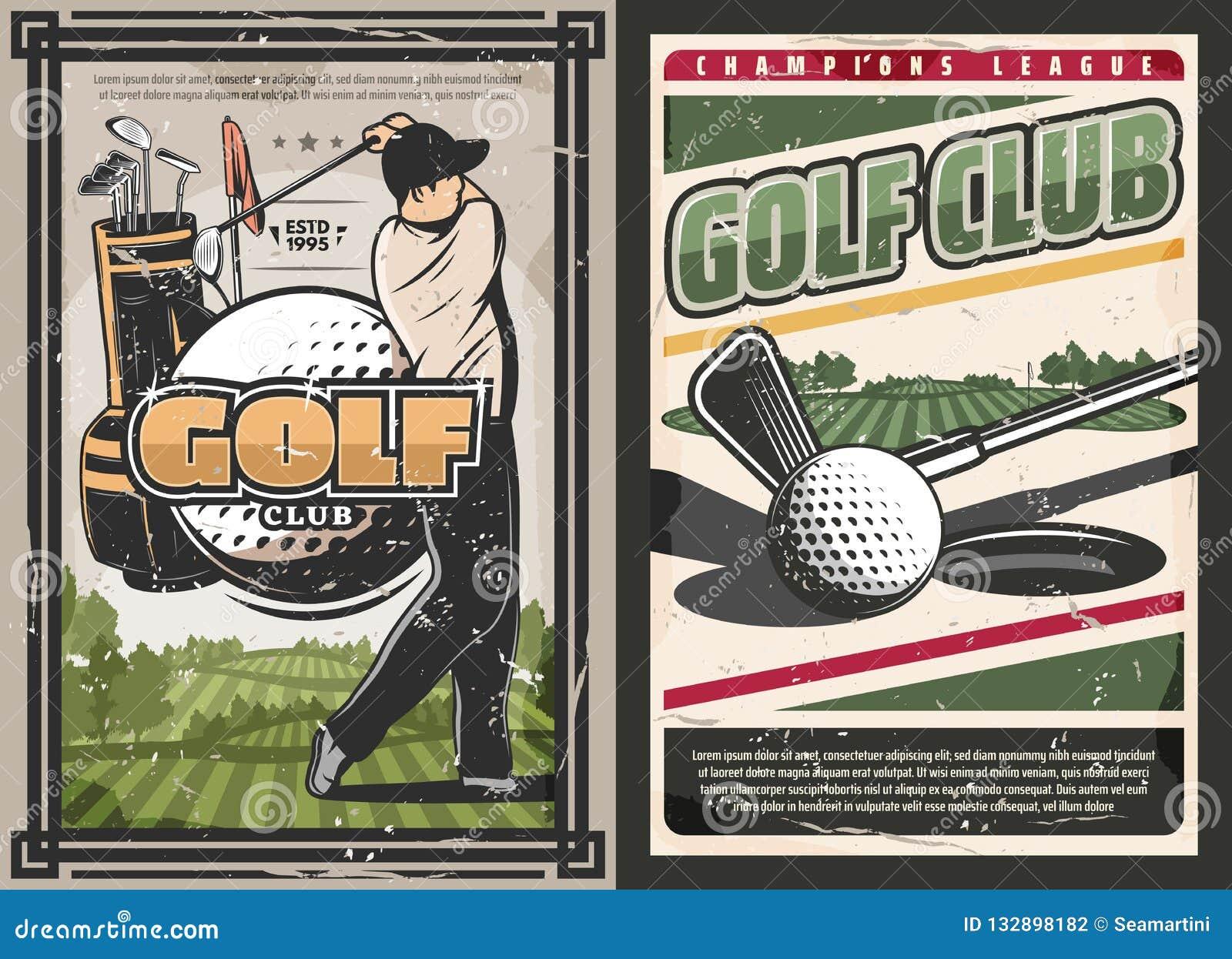 Cartel del club de golf del deporte con los artículos del jugador y del juego