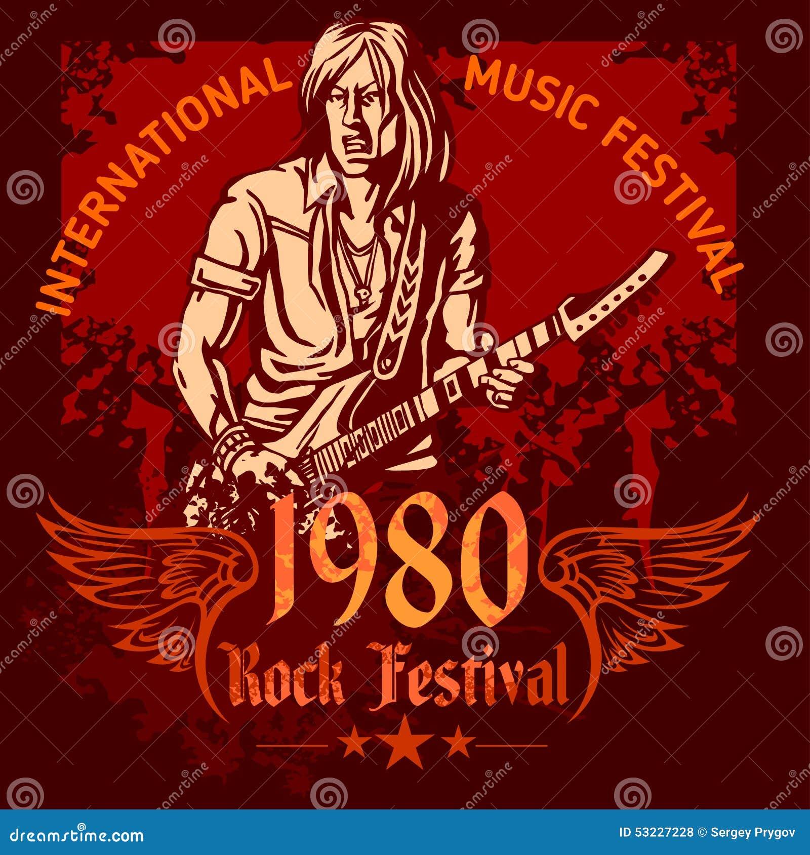 Cartel del concierto de rock - años 80 Ilustración del vector