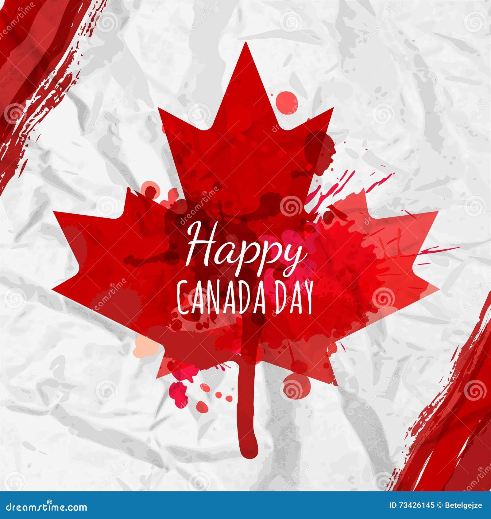 Cartel del día de fiesta con la hoja de arce roja de Canadá dibujada en el Libro Blanco arrugado