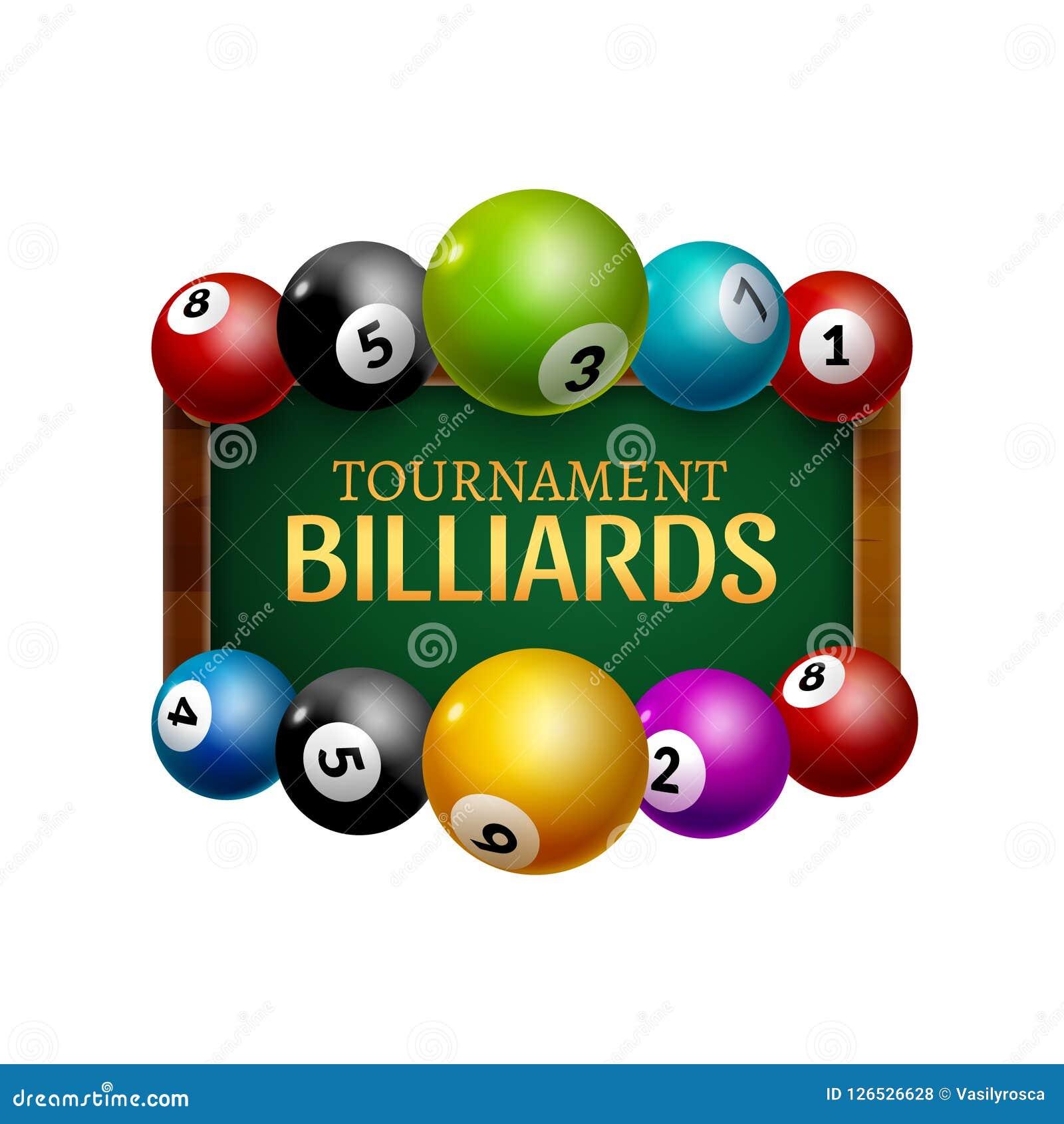 Cartel del desafío del billar del vector bolas realistas 3d en la tabla de billar con la lámpara Campeonato de la cubierta del di