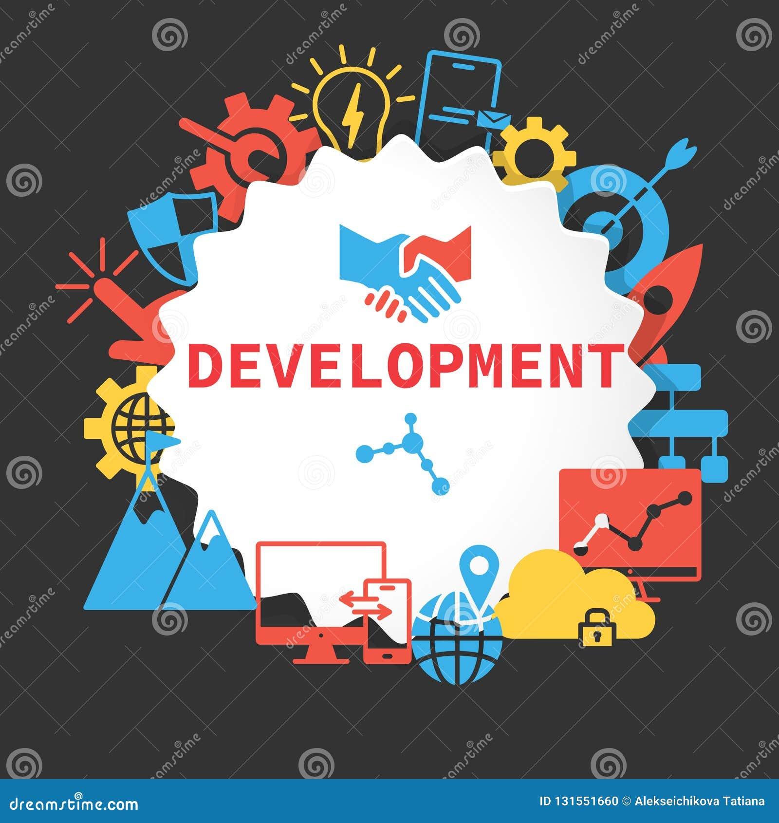 Cartel del desarrollo con los iconos fijados