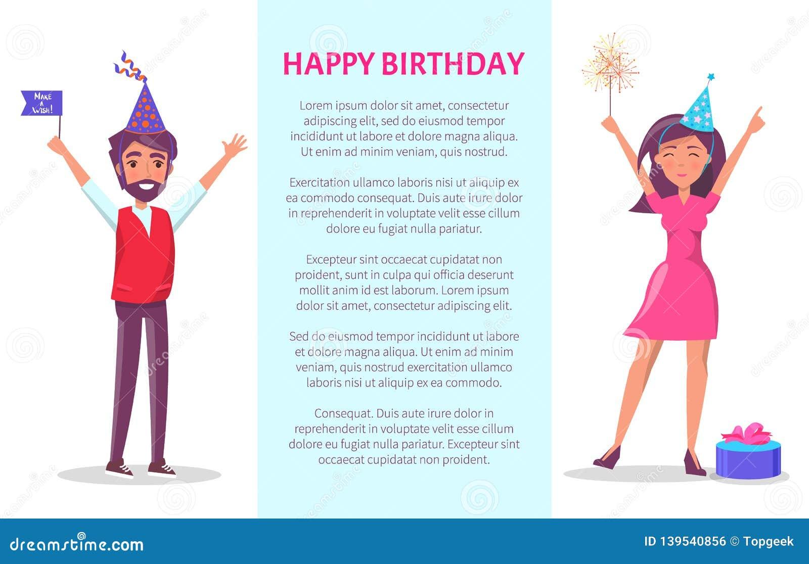 Cartel Del Feliz Cumpleaños Hombre Mujer Tarjeta De La