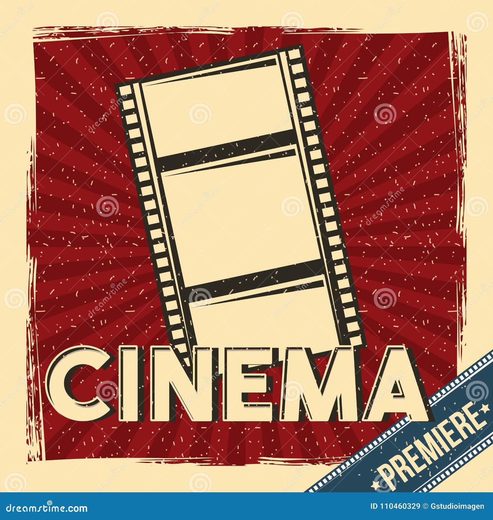 Cartel del festival de la premier del cine retro con la tira de la película