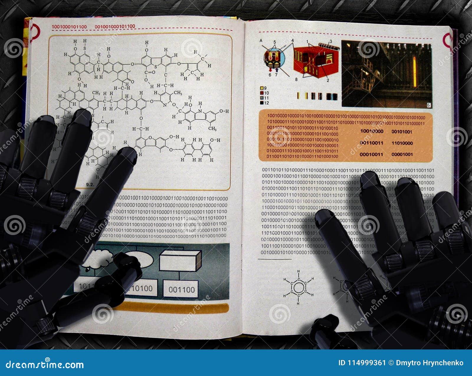 Cartel del proceso del aprendizaje de máquina y de la inteligencia artificial Manos y libro de texto del robot