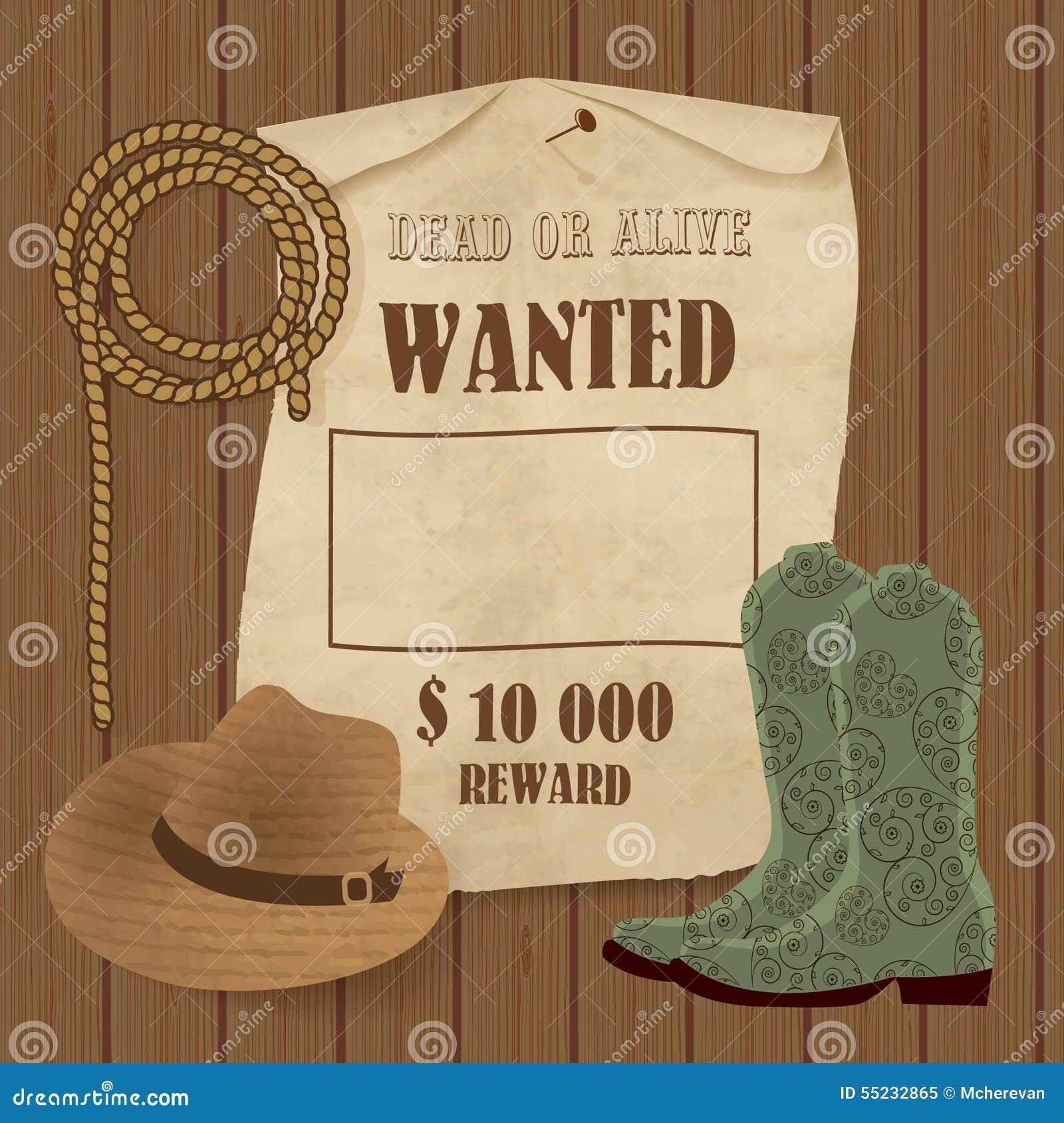 Cartel Del Vaquero Fondo Del Oeste Salvaje Para Su Diseño Vaquero ...