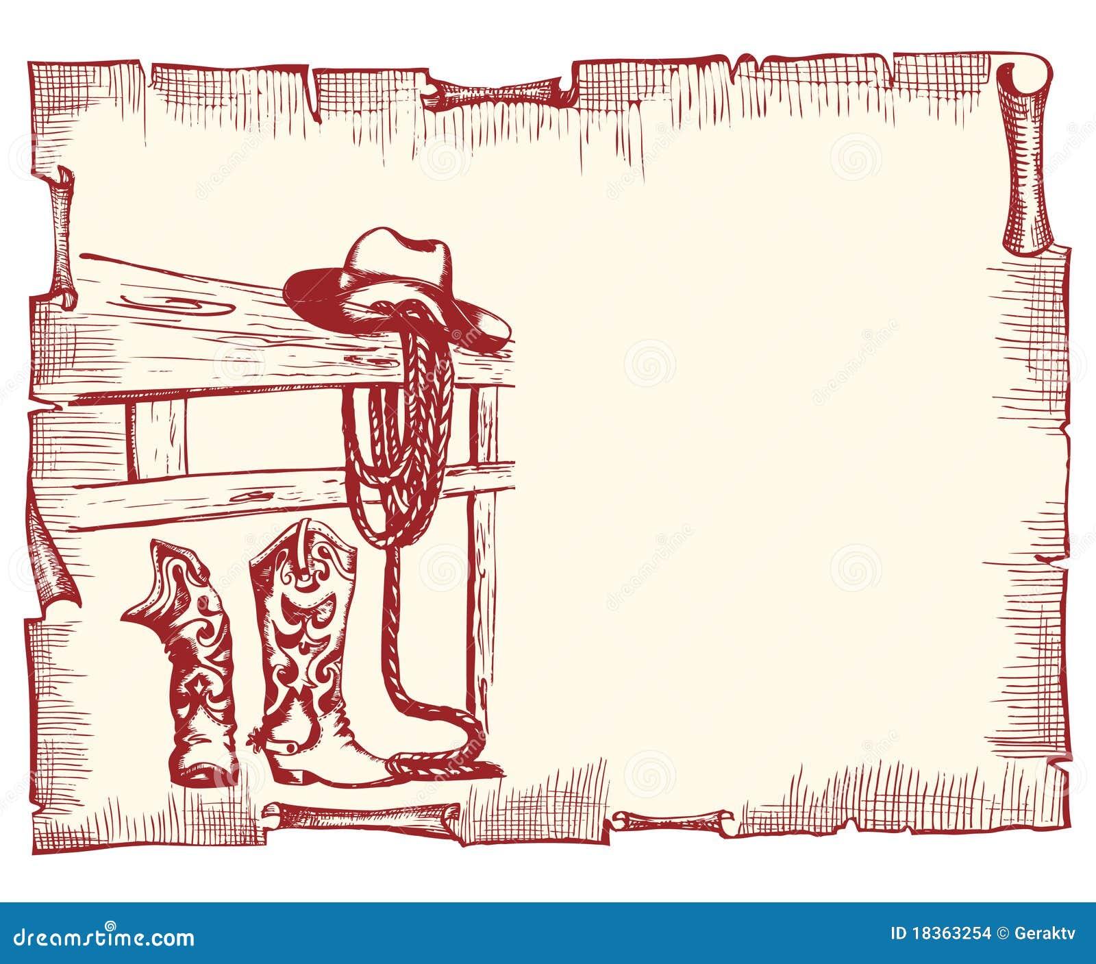 cartel del vaquero papel viejo del vector ilustraci243n del