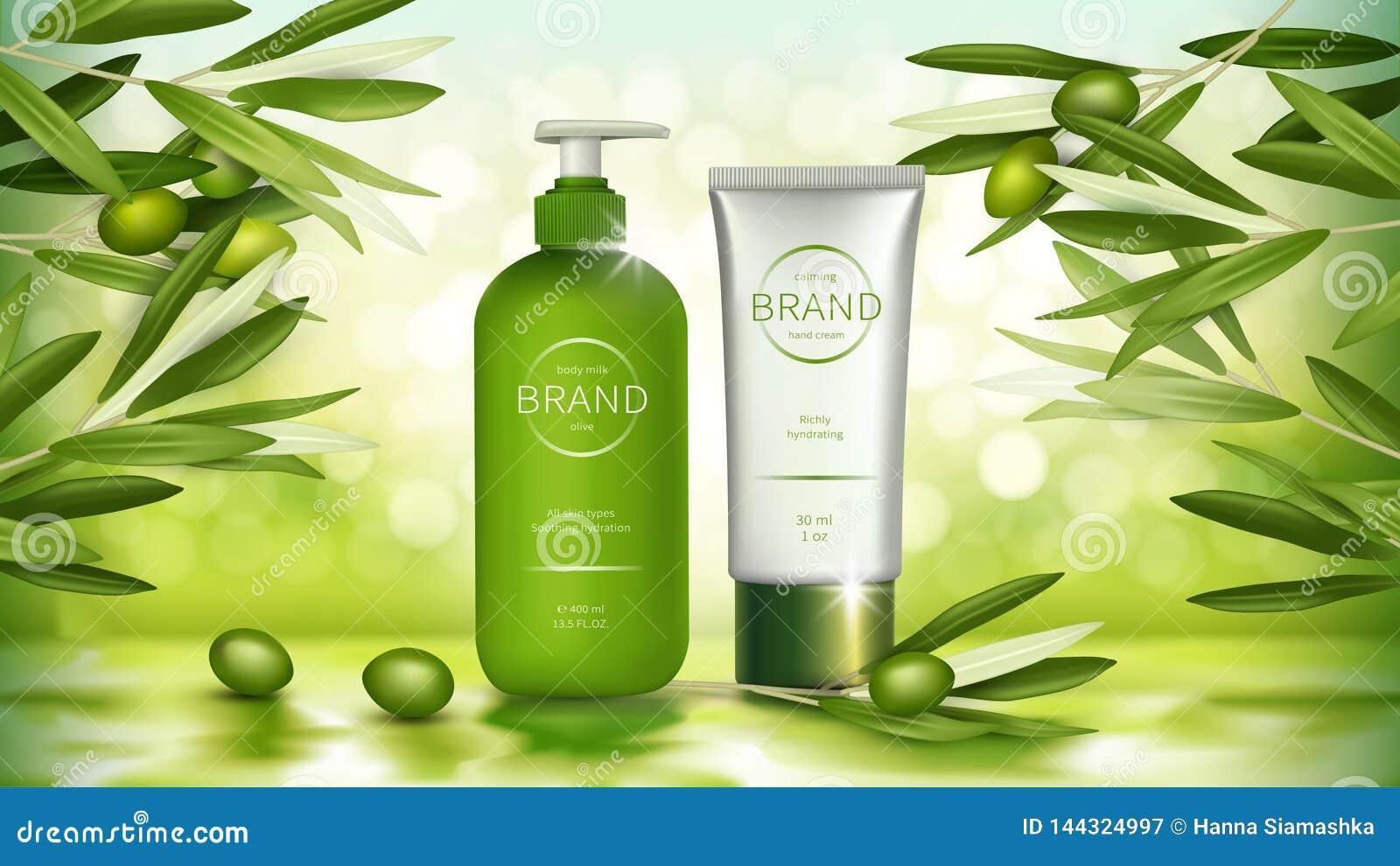 Cartel del vector con los cosméticos verdes olivas orgánicos