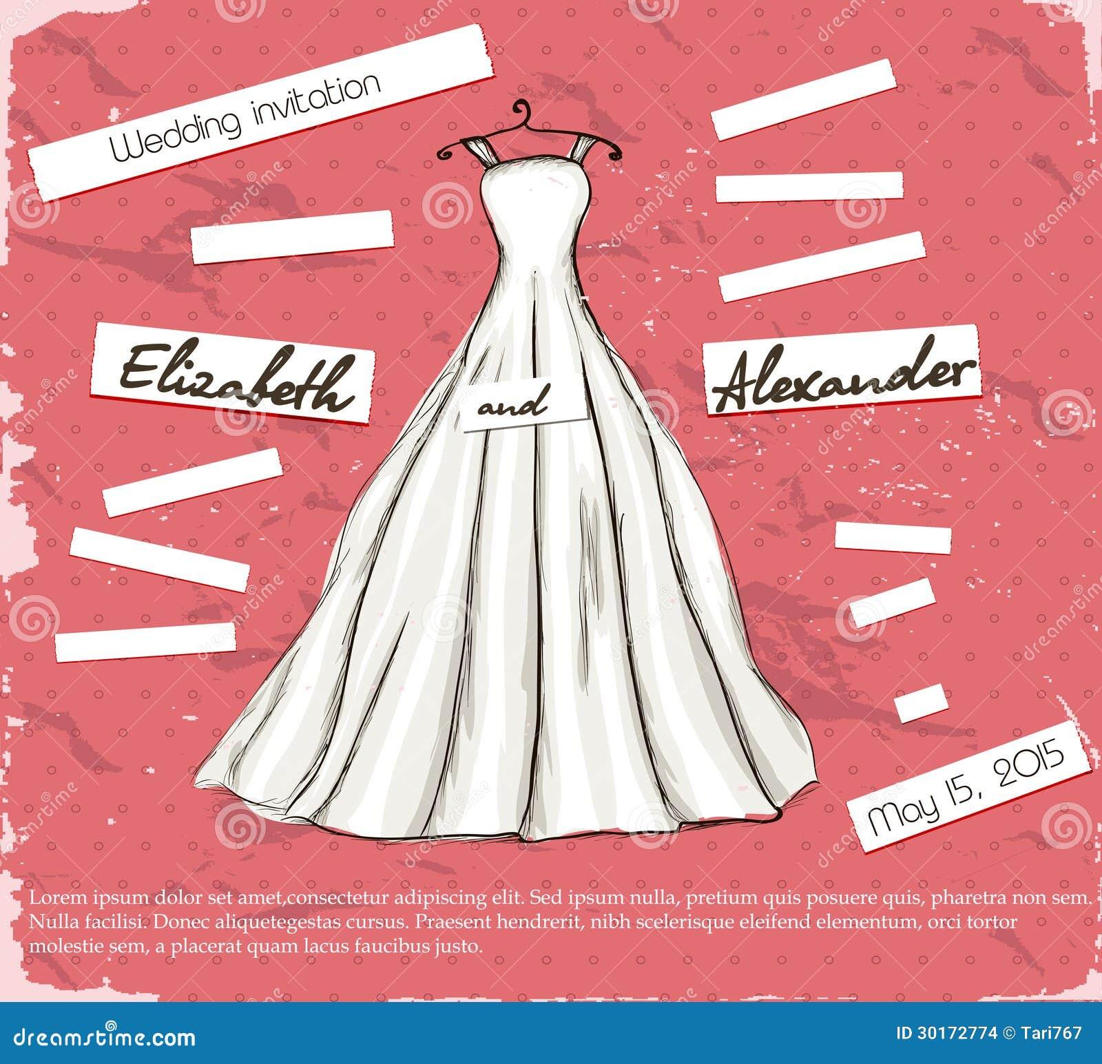 Cartel Del Vintage Con El Vestido De Boda Hermoso. Ilustración del ...
