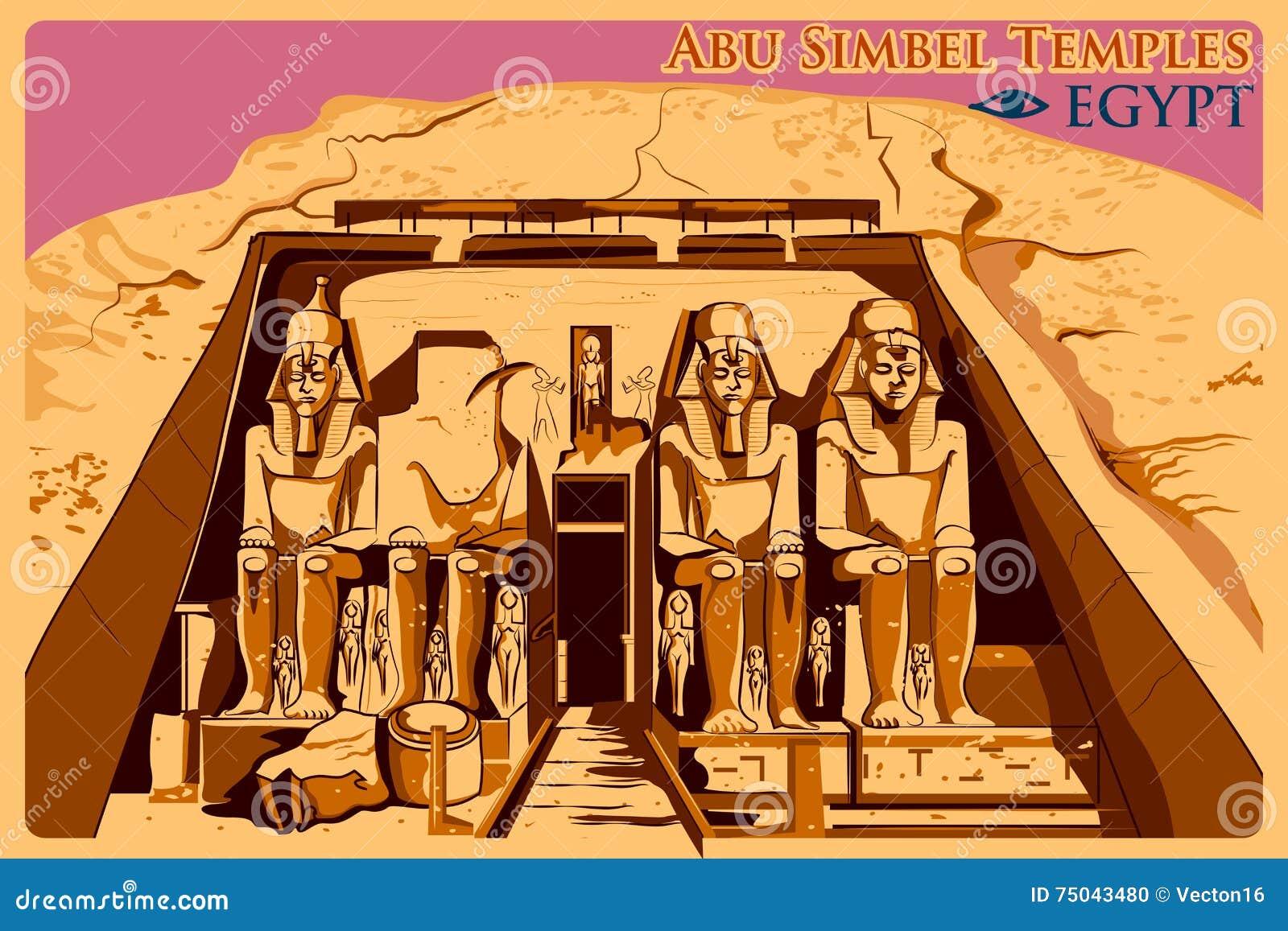 Cartel del vintage de Abu Simbel Temples en el monumento famoso de Nubia en Egipto