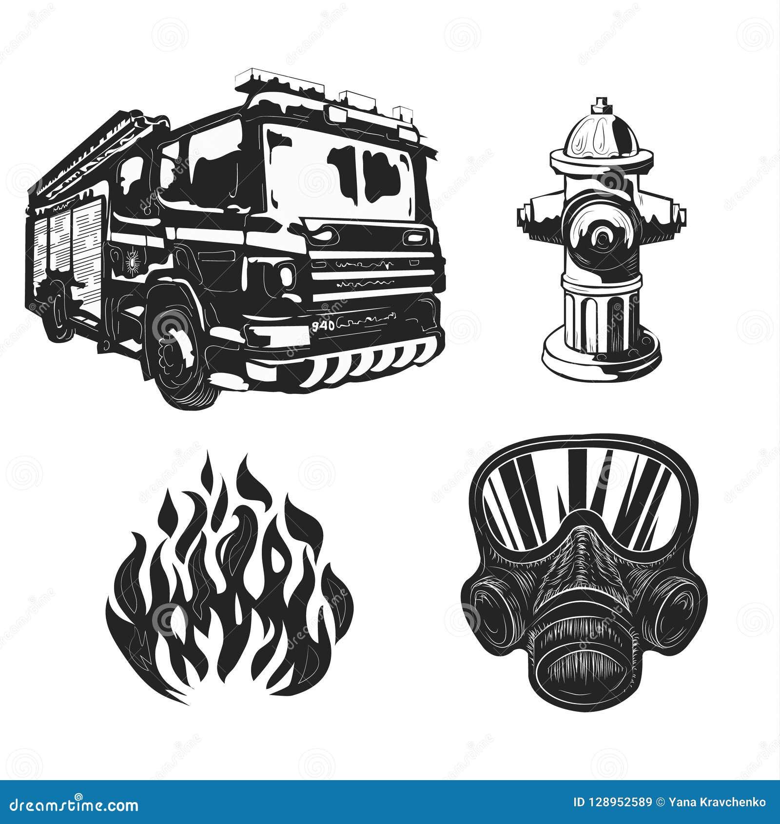 Cartel Del Vintage De Los Dibujos Gráficos Con Los Bomberos
