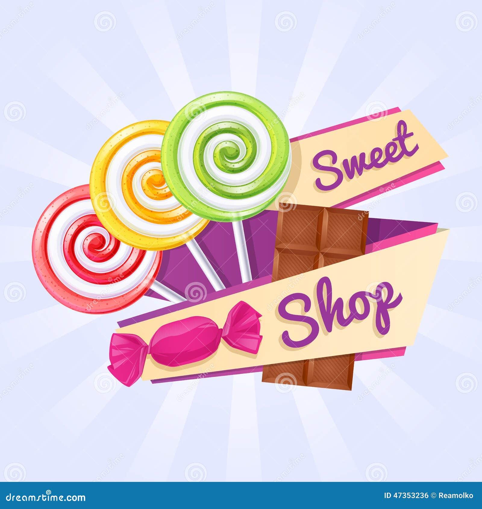 Cartel Dulce De La Tienda Con Los Caramelos Y La Barra De ...