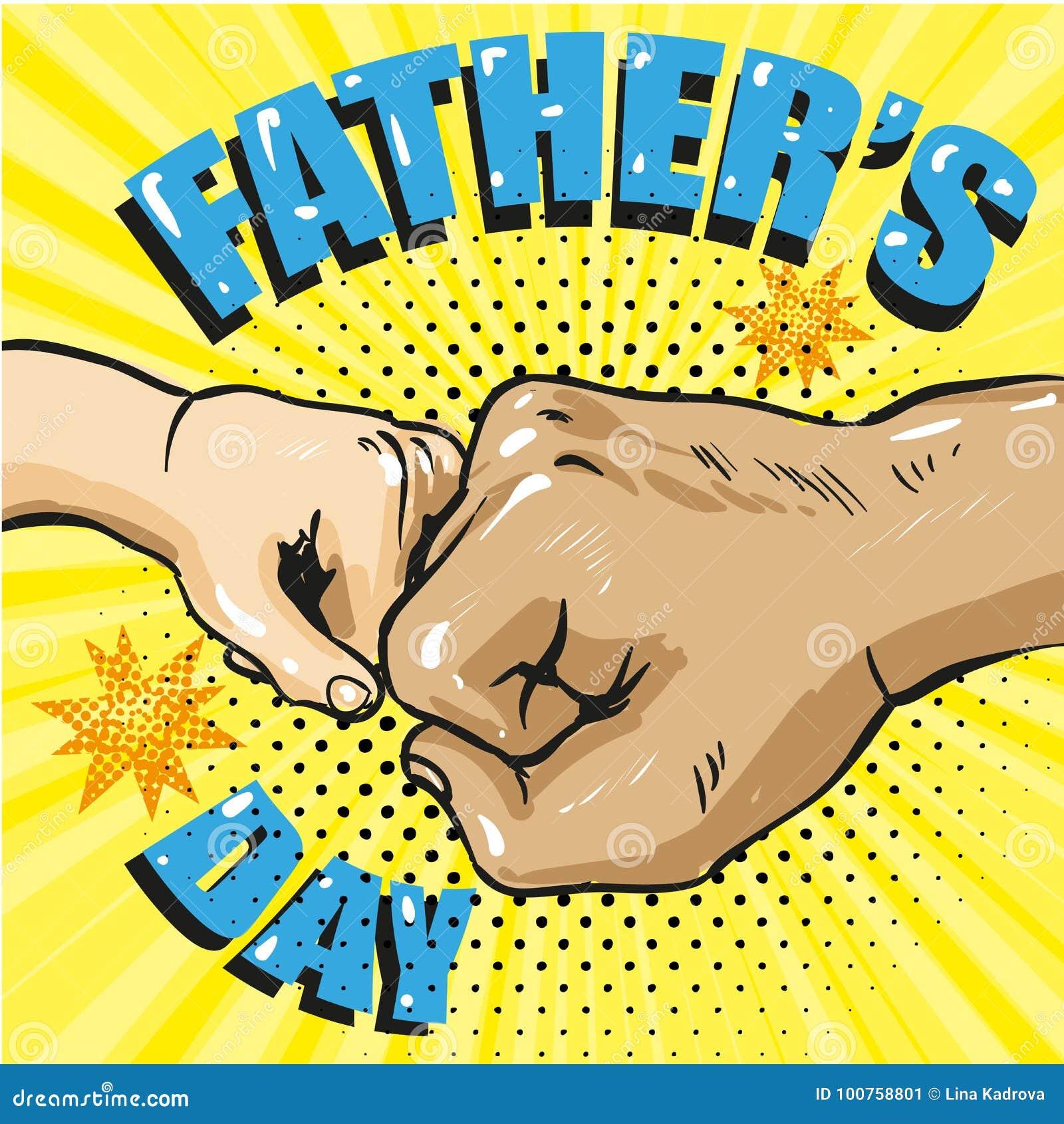 Cartel feliz del día de padres en estilo cómico retro Estallido Art Vector Illustration