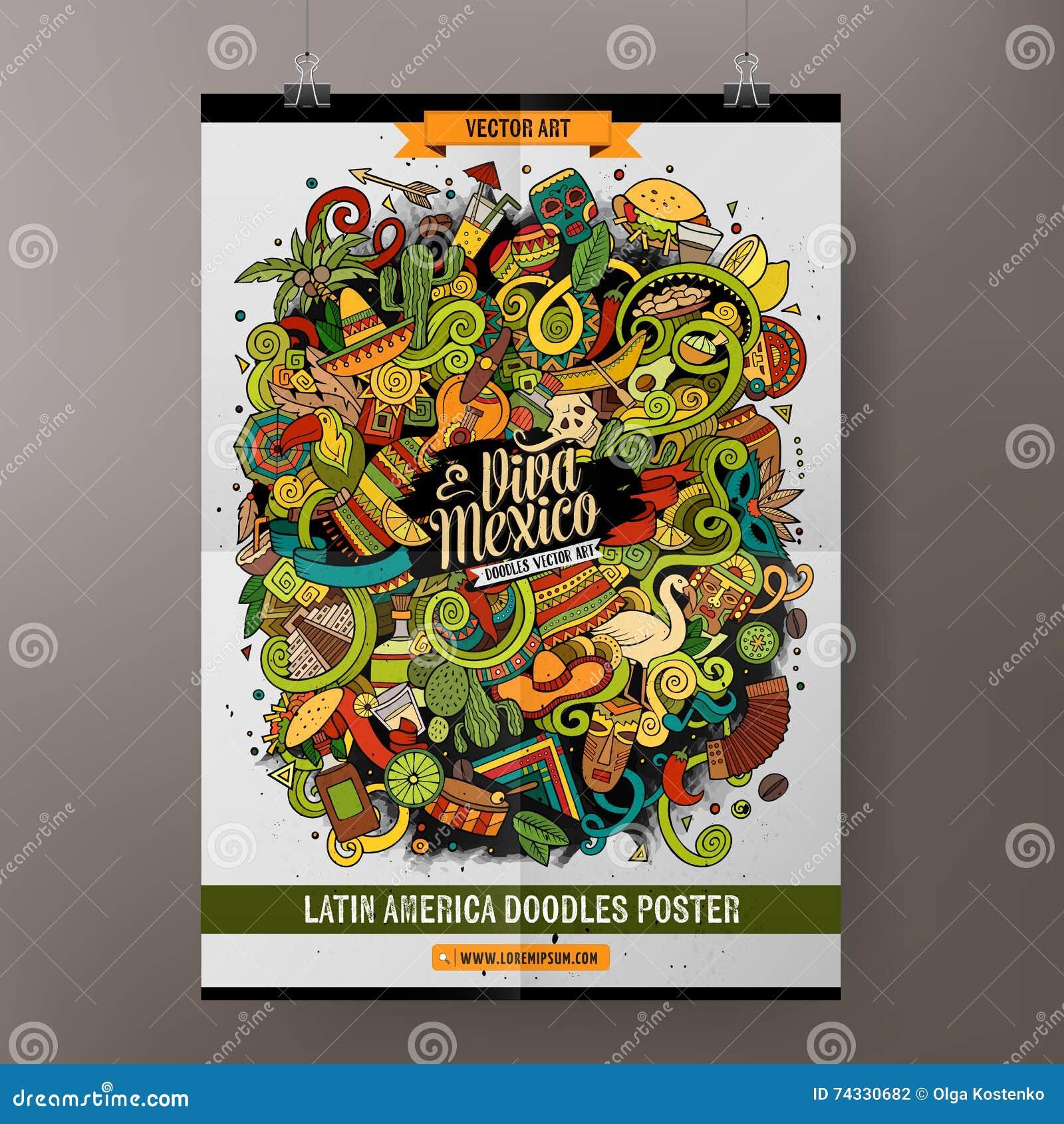 Cartel Latinoamericano De Los Garabatos A Mano De La Historieta ...
