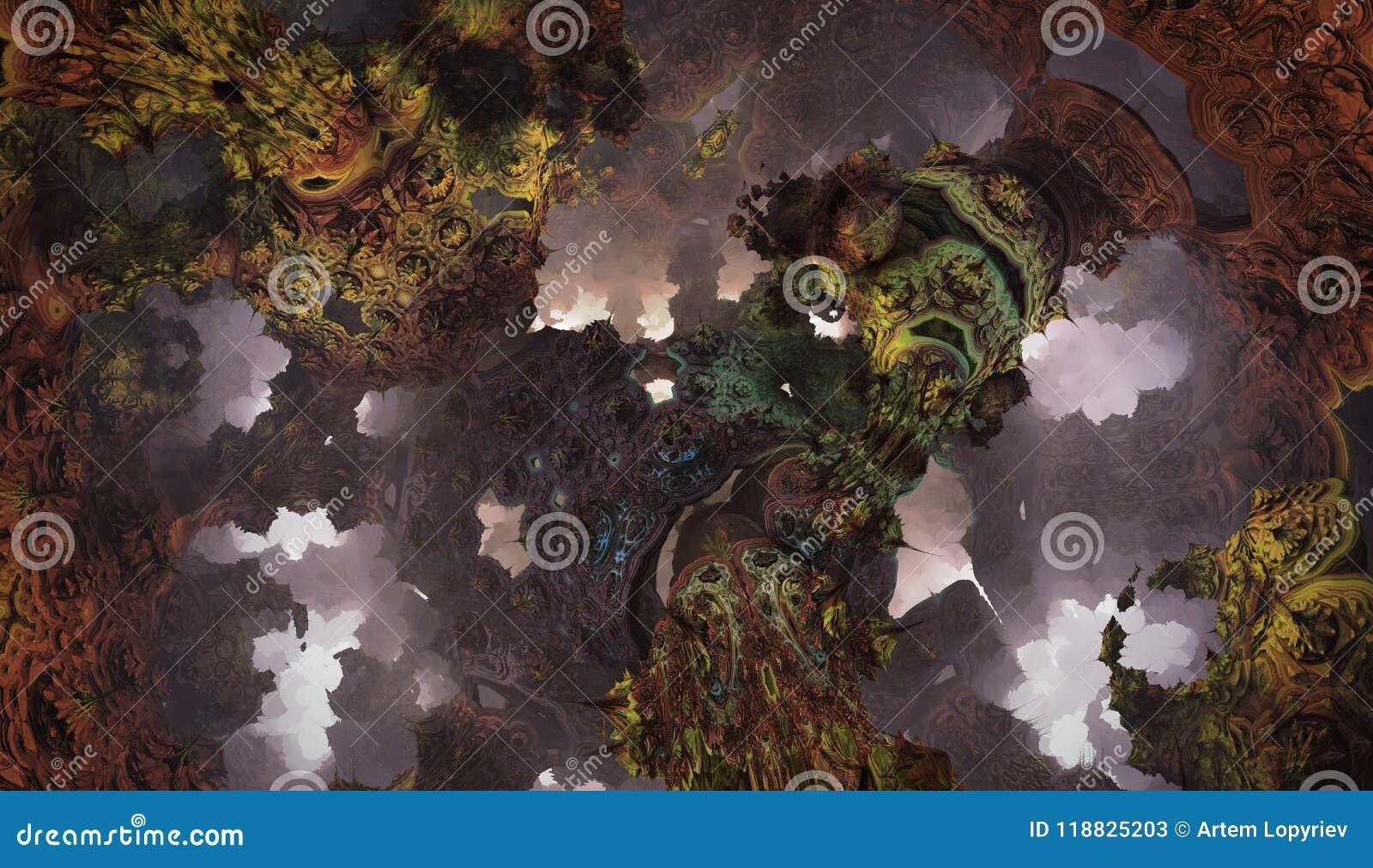 Cartel o fondo fantástico abstracto Vista futurista desde adentro del fractal
