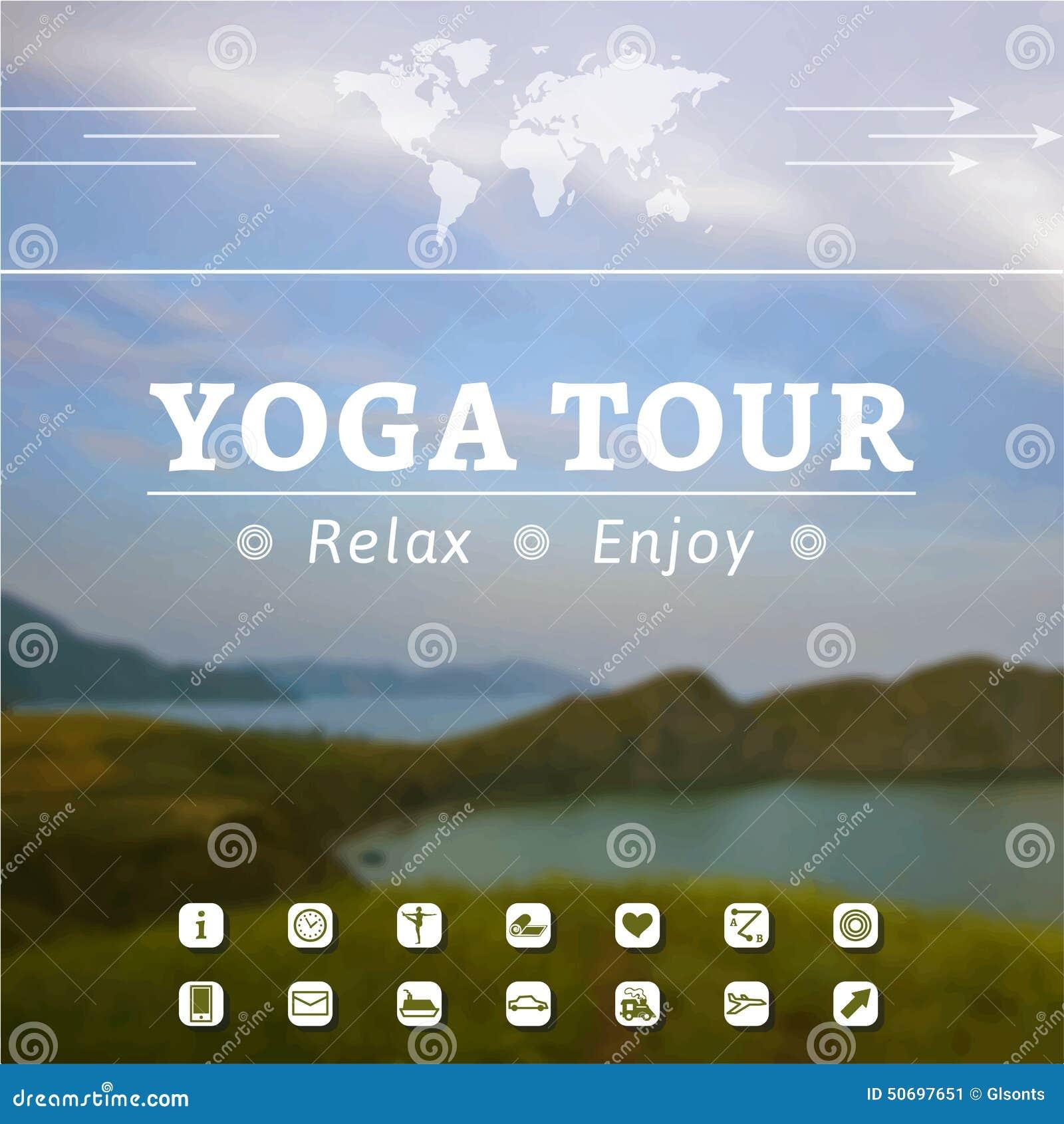 Cartel para el viaje de la yoga, viaje, viaje, vacaciones en un fondo de la naturaleza