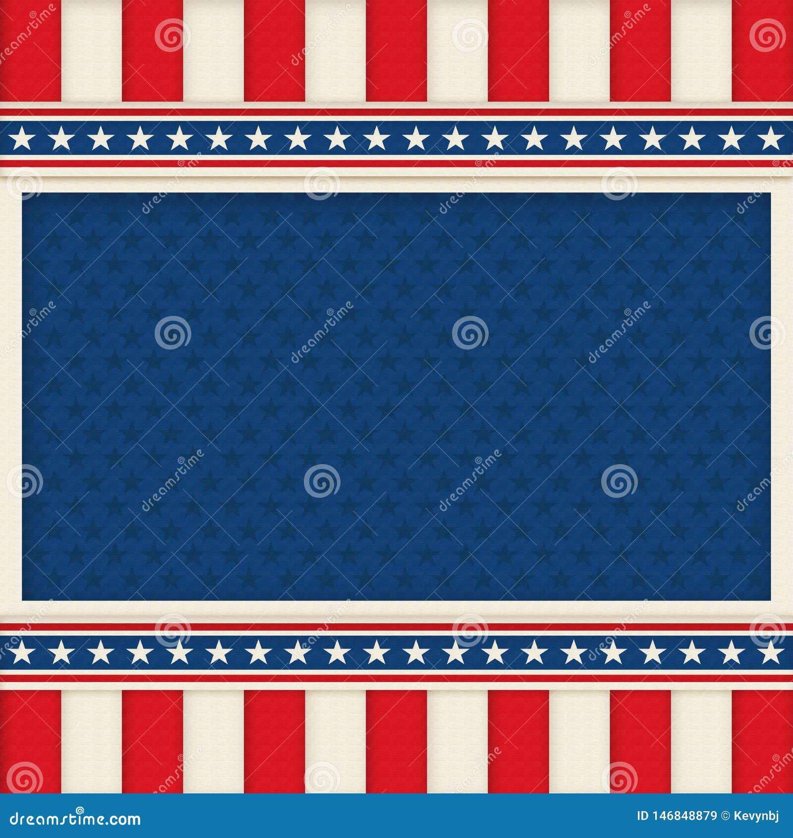 Cartel patriótico Art Memorial Day del fondo el 4 de julio