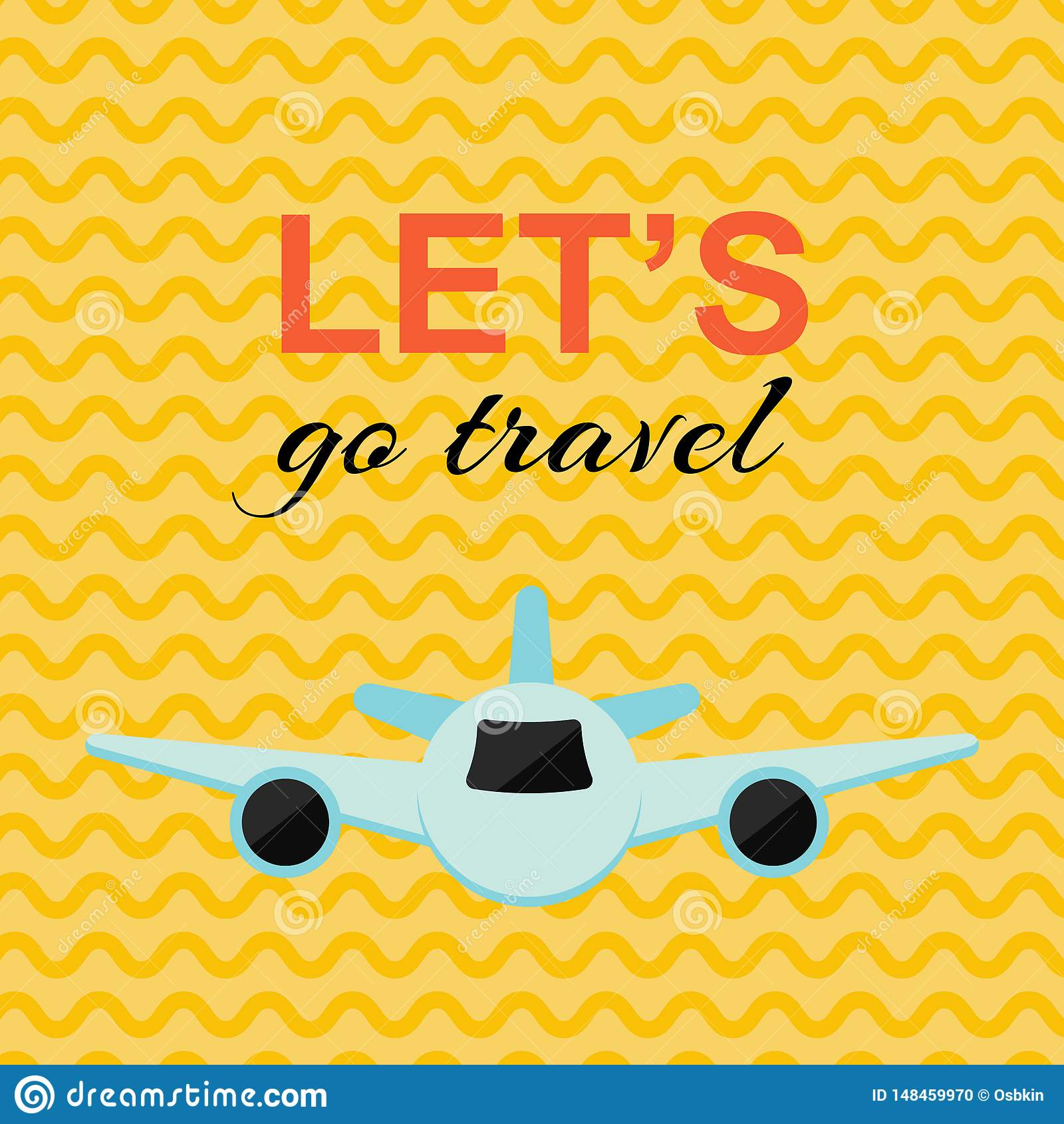 Cartel que viaja con el avión y el fondo amarillo