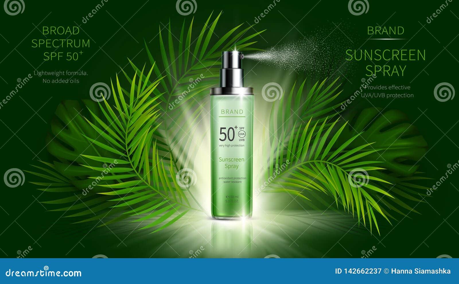 Cartel realista de los anuncios del vector cosmético de la protección de Sun