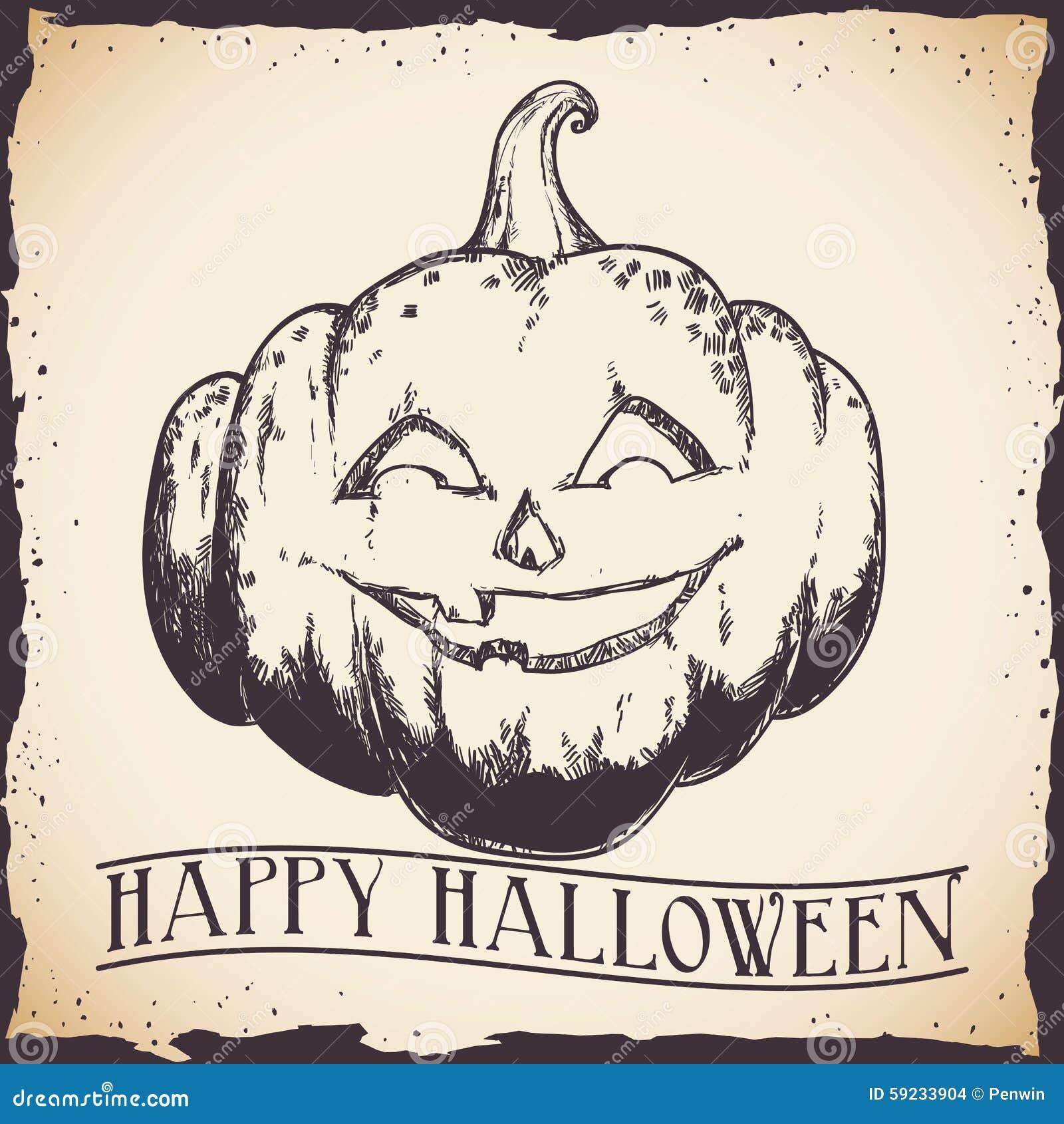 Cartel retro dibujado mano de la calabaza del feliz Halloween