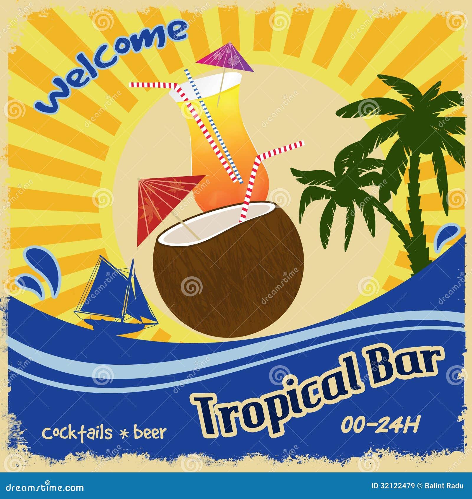 Cartel retro para la barra tropical