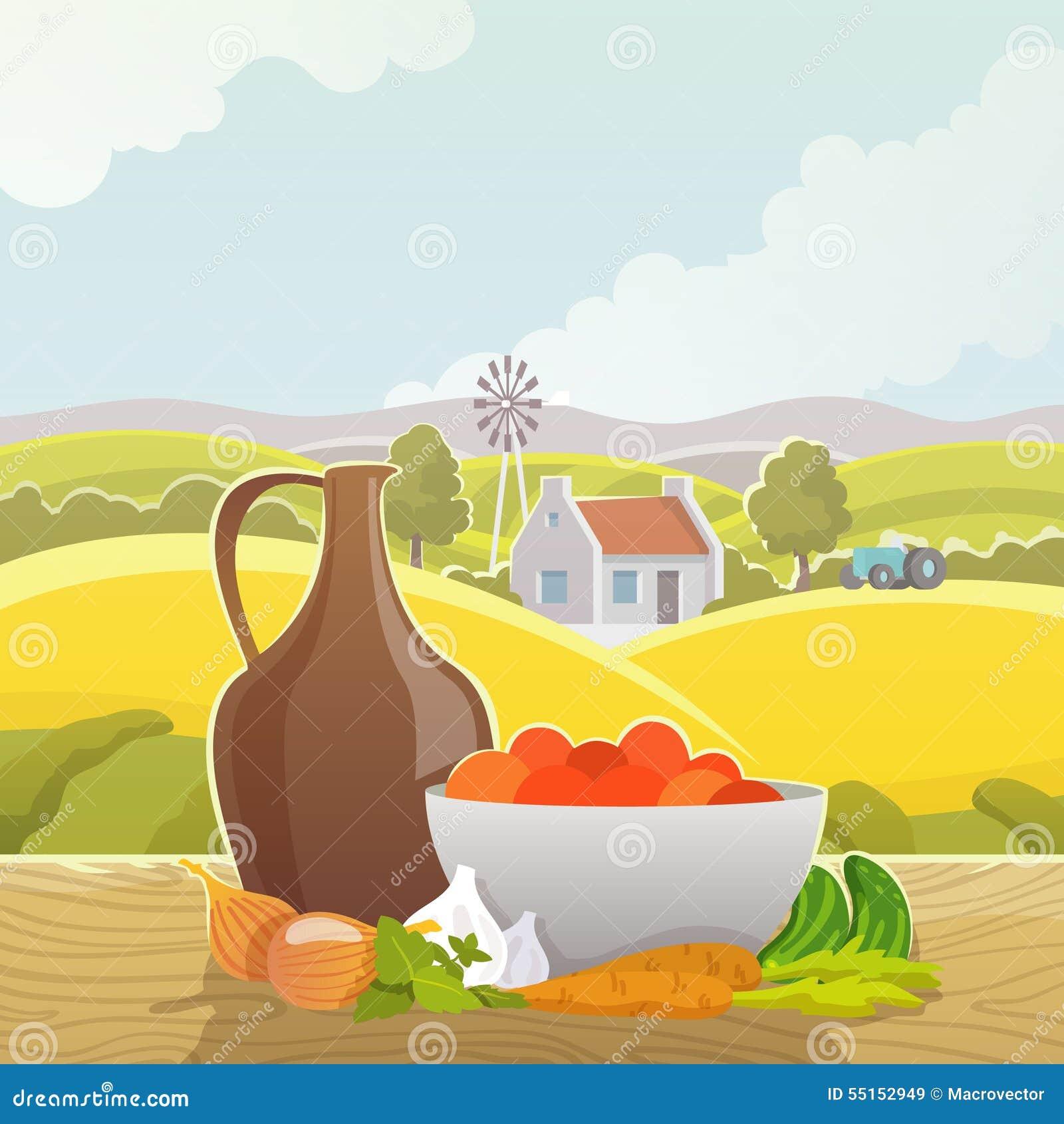 Cartel Rural Del Ejemplo Del Extracto Del Paisaje Ilustración del ...