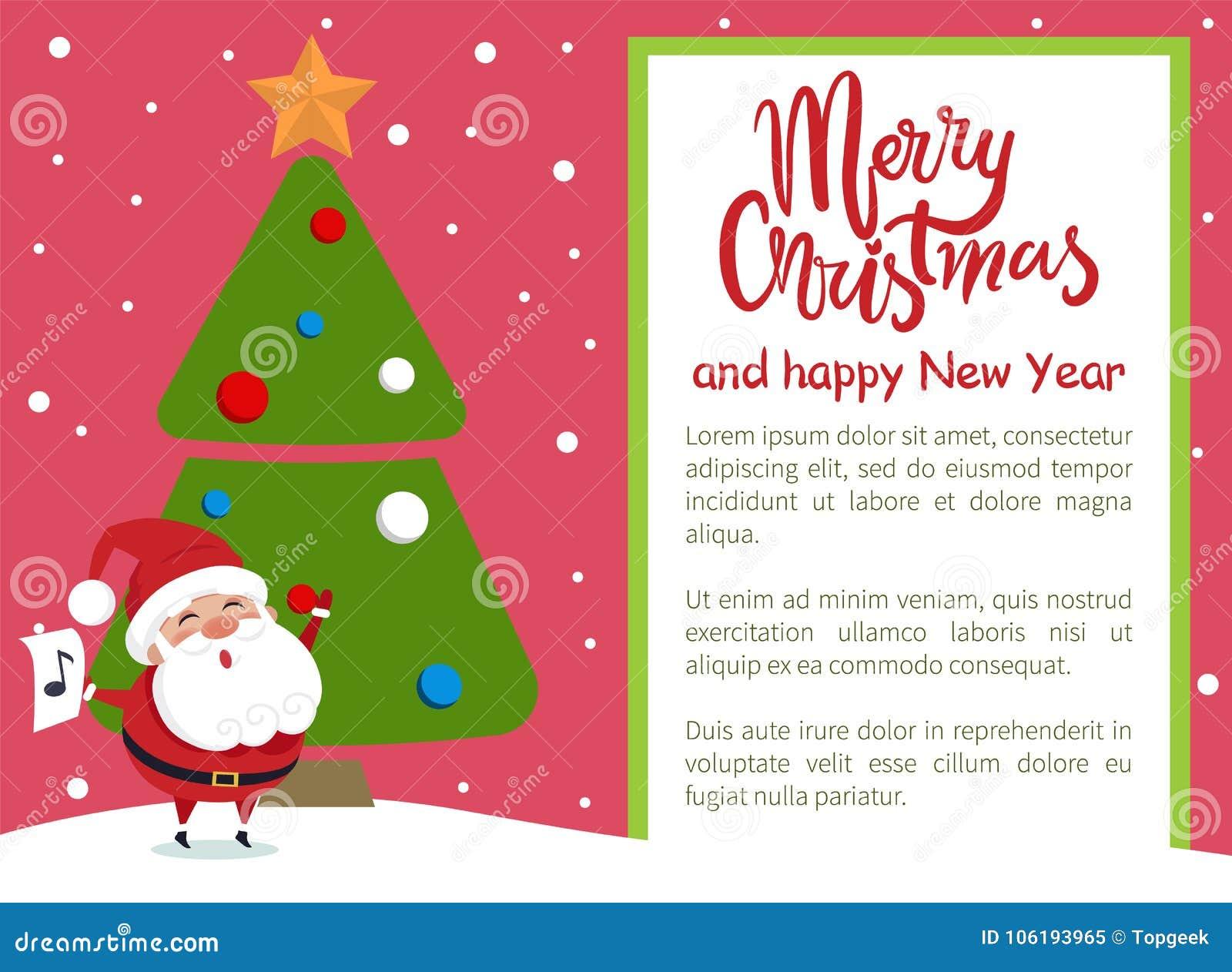 Villancico Feliz Navidad A Todos.Cartel Santa Tree De La Feliz Ano Nuevo De La Feliz Navidad