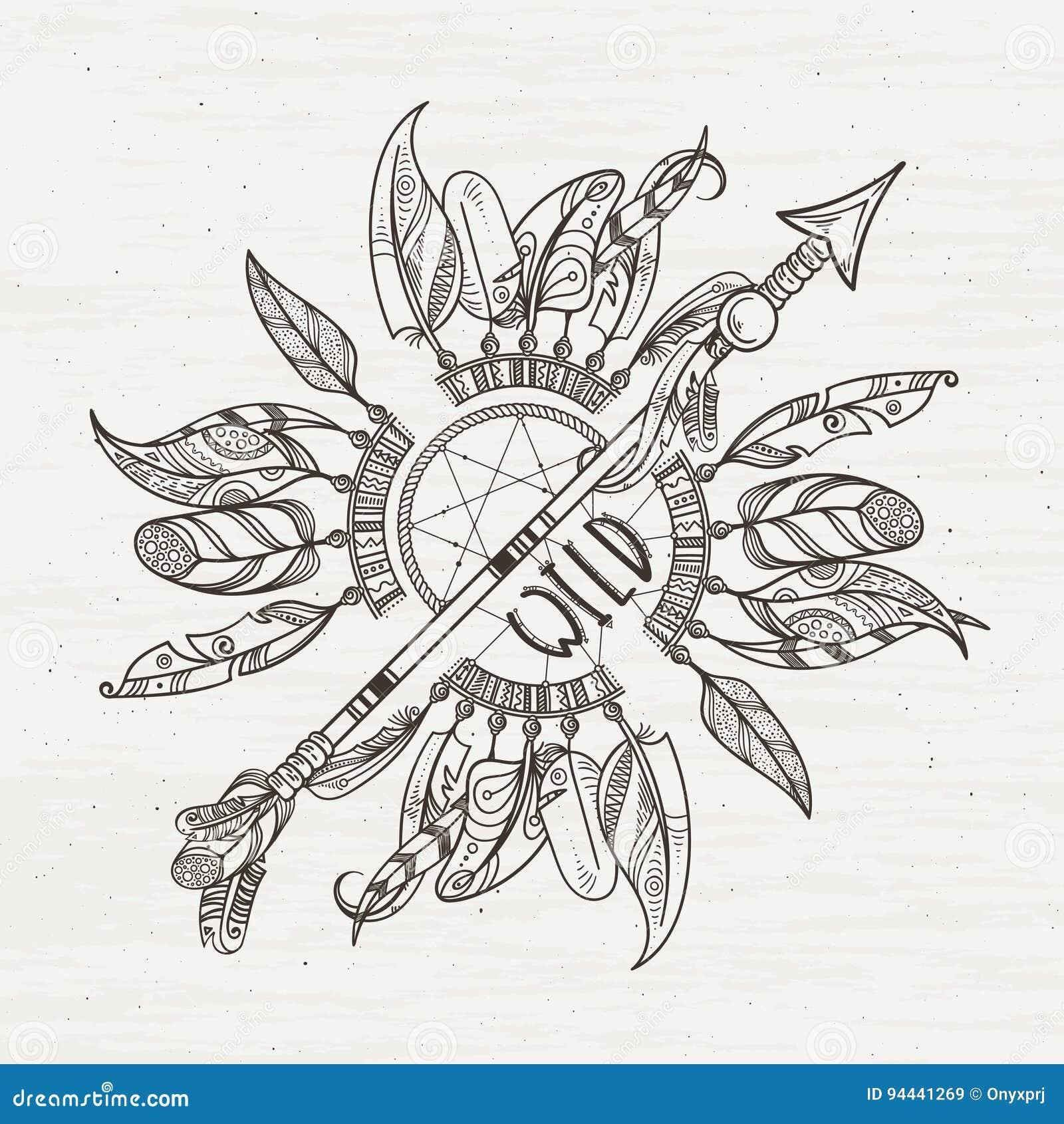 Cartel Tribal Con Las Flechas De Los Dreamcatchers Y Las Plumas ...