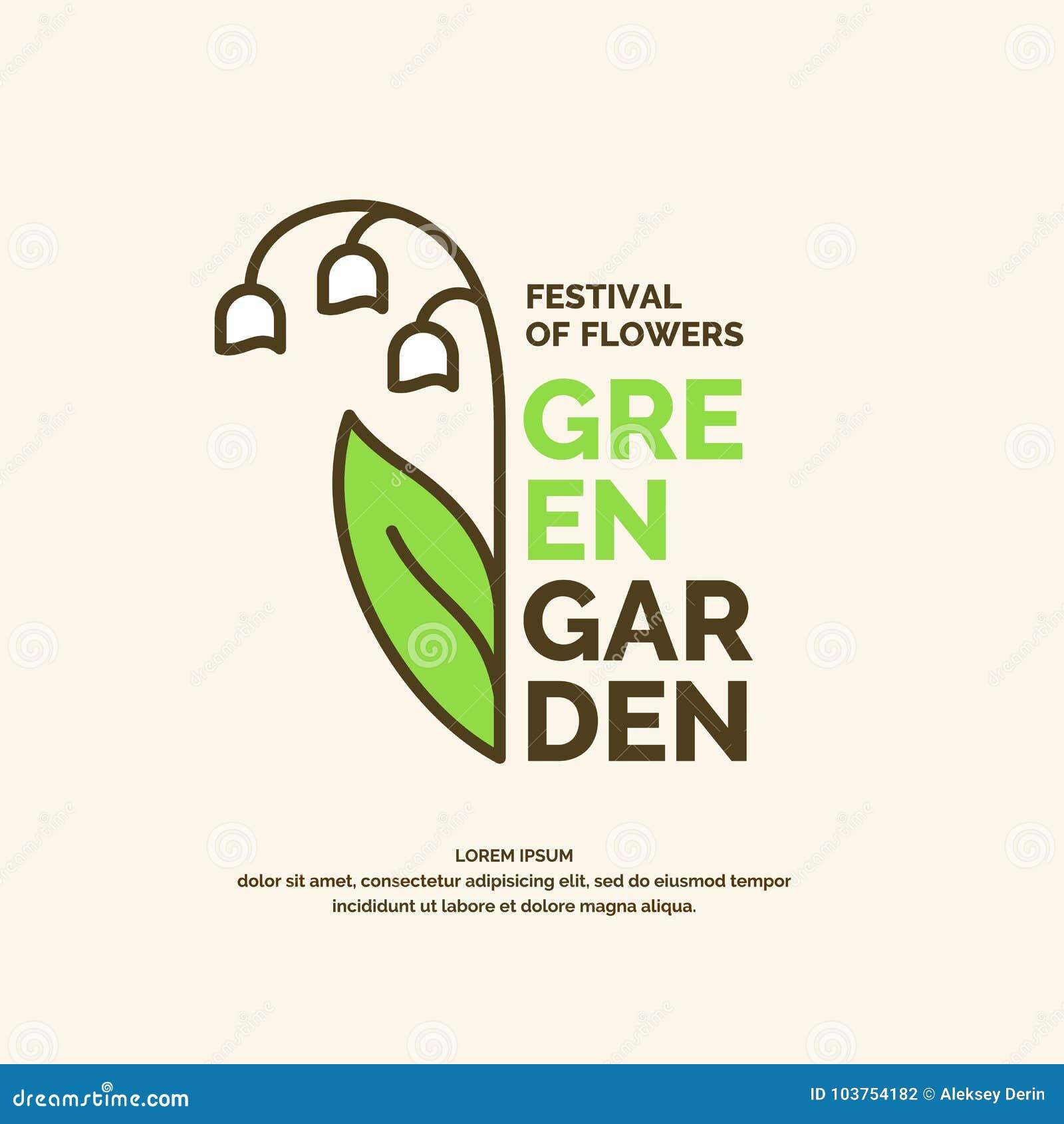 Cartel verde del jardín Ejemplo para el festival de flores