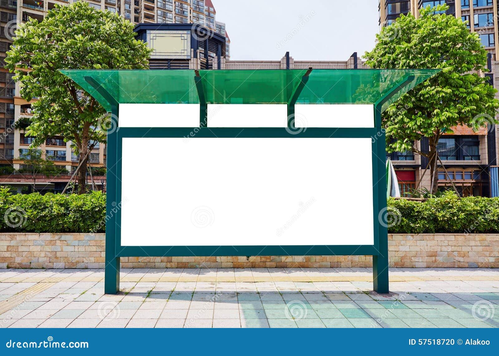 Cartelera de la parada de autobús, cartelera en blanco