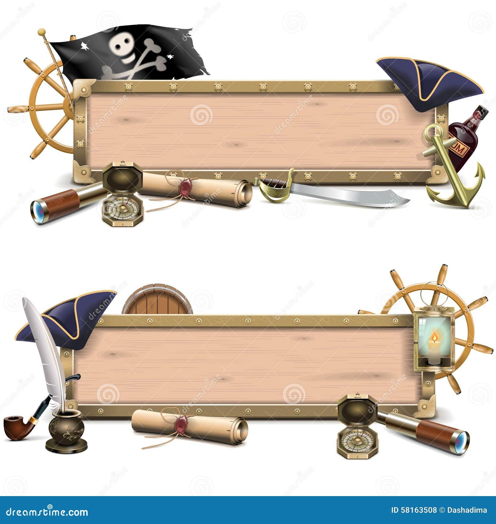 Carteleras del pirata del vector