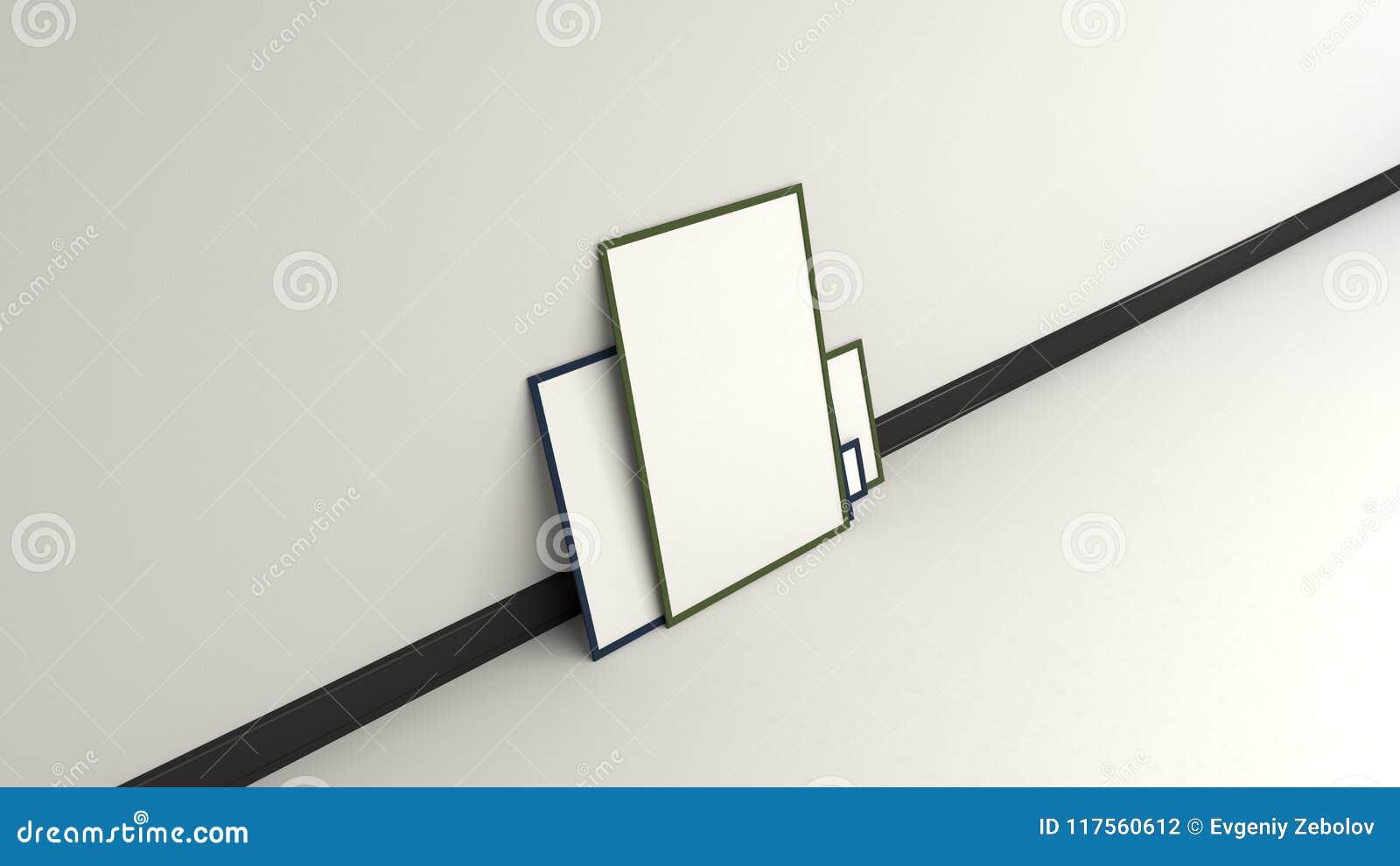 Carteles Blancos En Blanco En Los Marcos Negros Que Se Colocan En El ...
