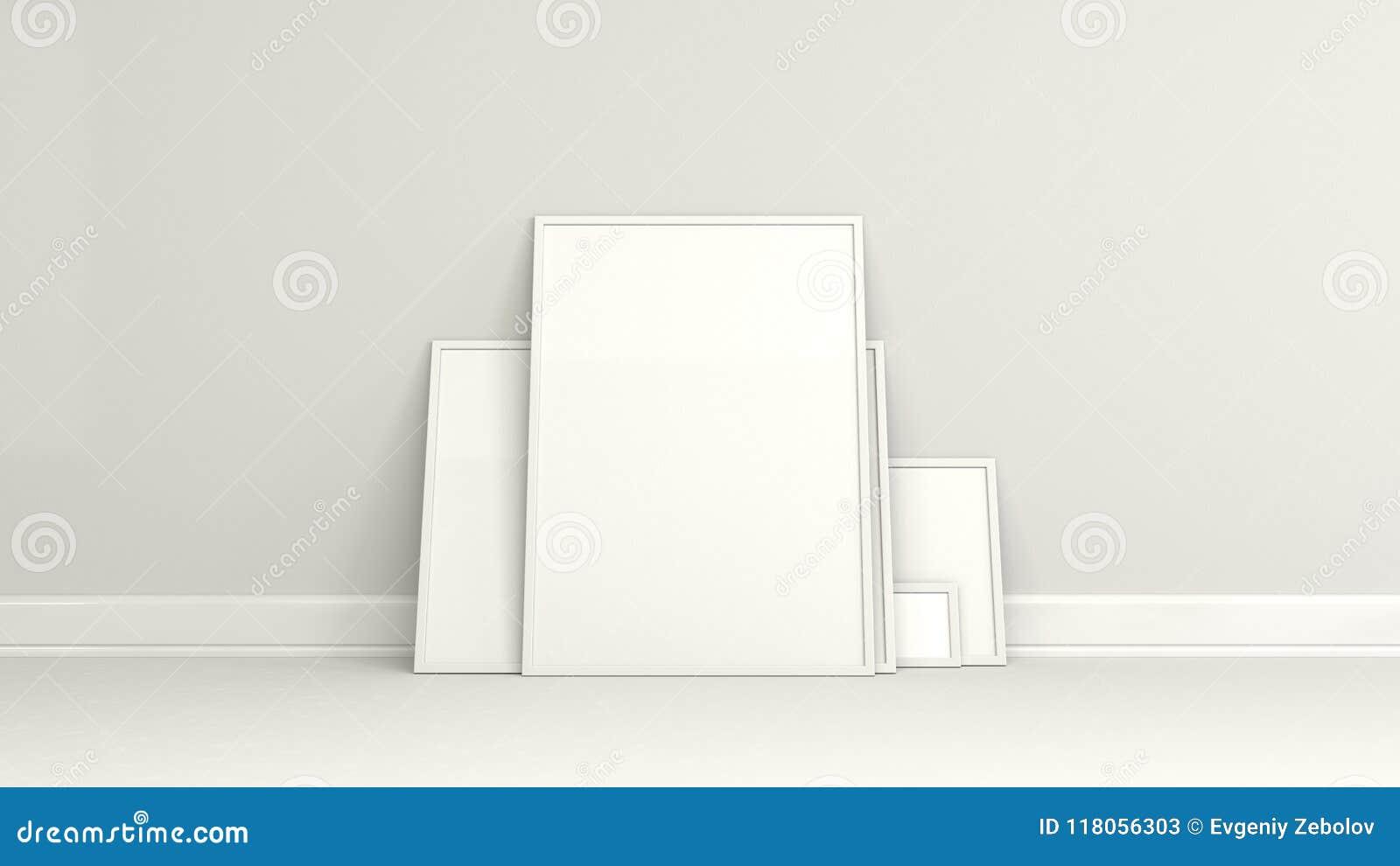 Carteles Blancos En Blanco En Los Marcos Blancos Que Se Colocan En ...