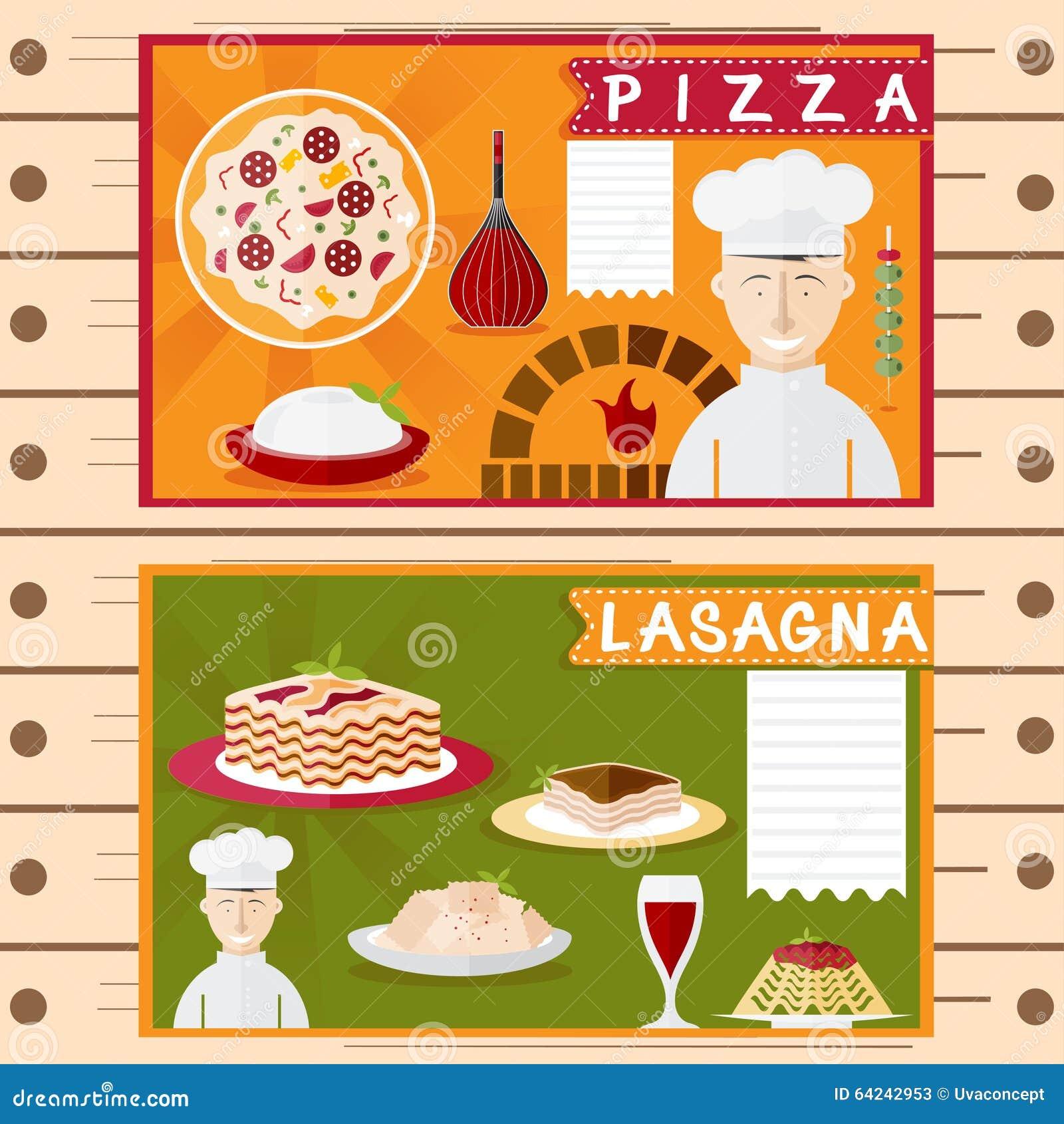 Carteles del vector del dise o de los elementos italianos - Carteles de cocina ...