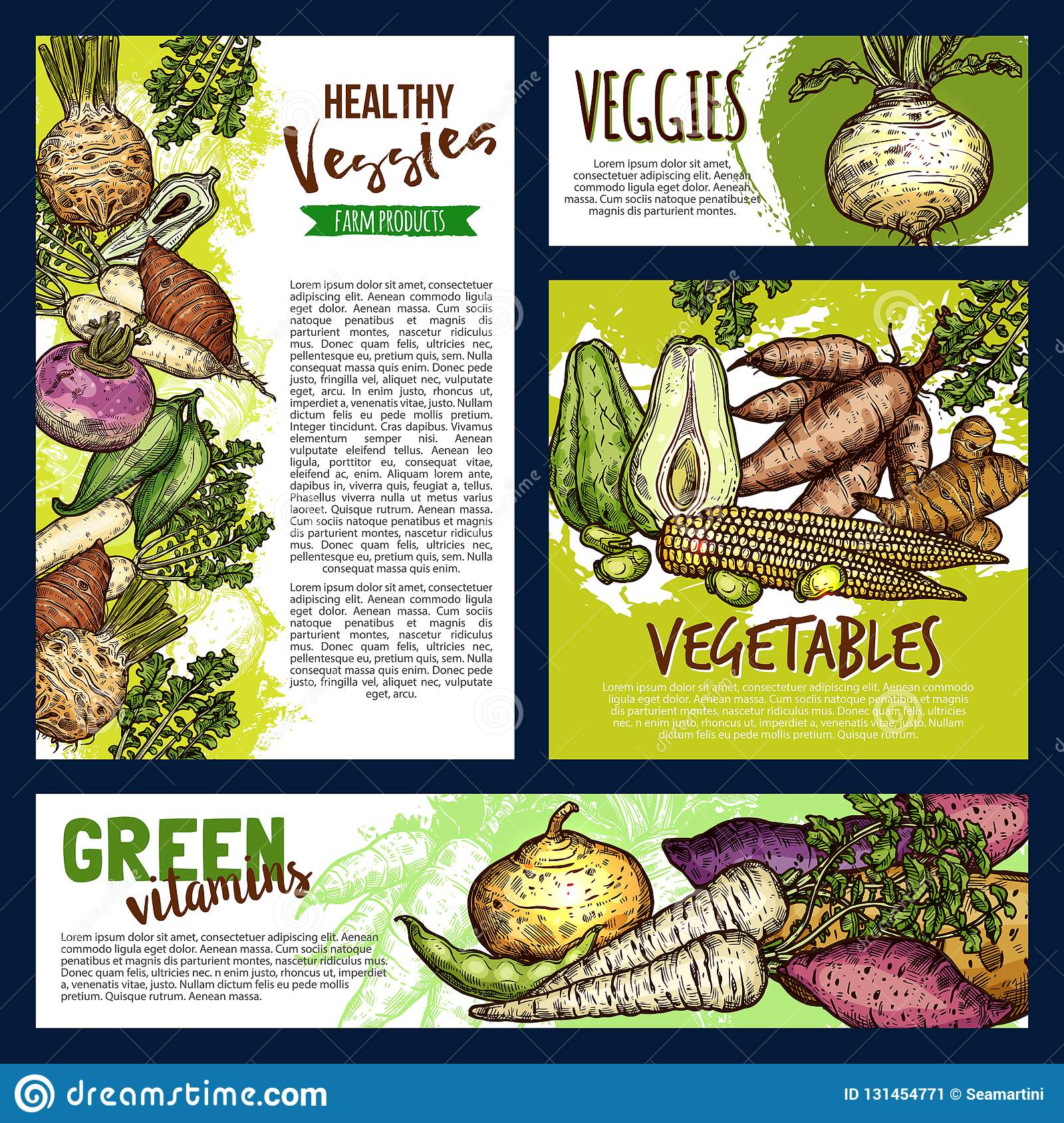 Carteles y banderas de las verduras y de los veggies de la granja